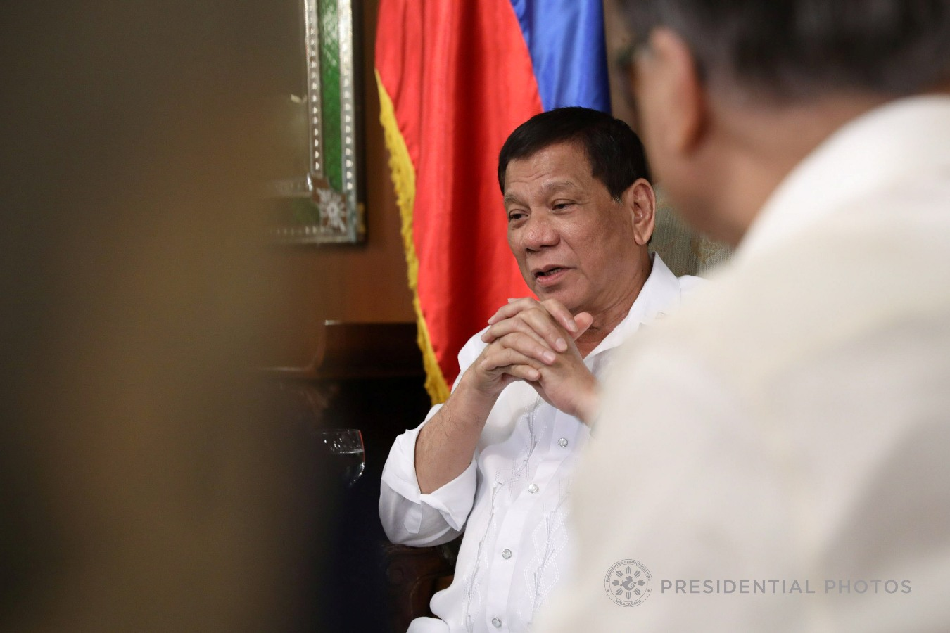 President Rodrigo Roa Duterte engages in a discussion with Carmina and Horacio Castillo Jr., parents of the late Horacio Castillo III, during a meeting with the President in Malacañan Palace on October 4, 2017.  Joining the President during the meeting are Justice Secretary Vitaliano Aguirre II and Volunteers Against Crime and Corruption Founding Chairman Dante Jimenez. KARL NORMAN ALONZO/PRESIDENTIAL PHOTO