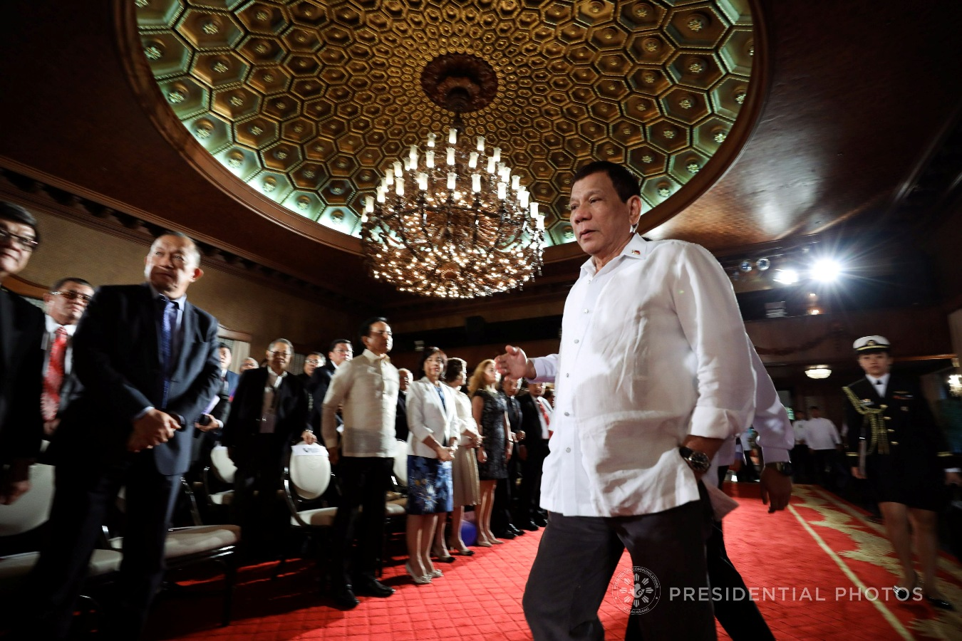 President Rodrigo Roa Duterte arrives at the Rizal Hall in Malacañan Palace as he graces the ASEAN Law Association (ALA) Governing Council Commemorative Session and Concert Program on October 25, 2017. KARL NORMAN ALONZO/PRESIDENTIAL PHOTO