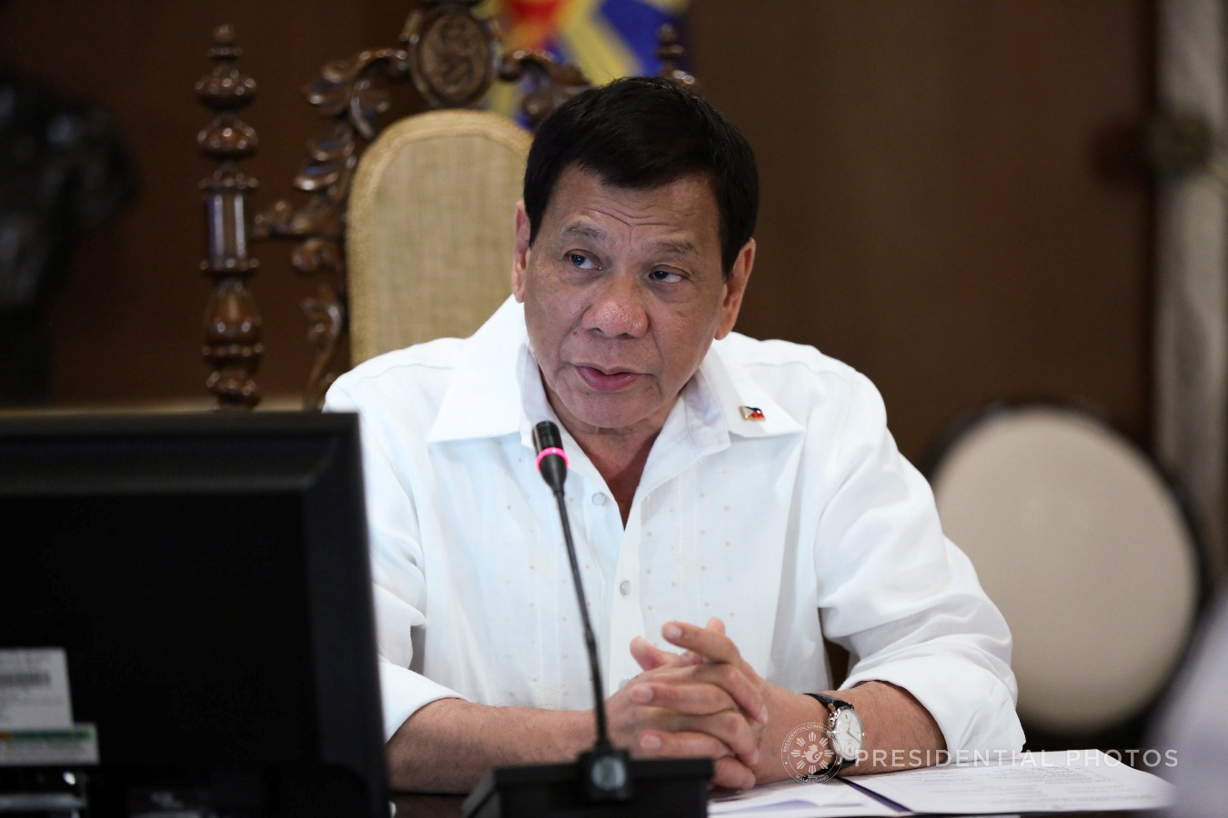 President Rodrigo Roa Duterte presides over the cabinet cluster meeting in Malacañan Palace on November 6, 2017. Among the issues discussed are the rehabilitation efforts in Marawi City including the health, livelihood, and housing projects for the residents and the wounded government security forces. Also tackled in the meeting are the updates on the PH-Japan Defense Cooperation as well as the proposed Enhanced Comprehensive Local Integration Program. KARL NORMAN ALONZO/PRESIDENTIAL PHOTO