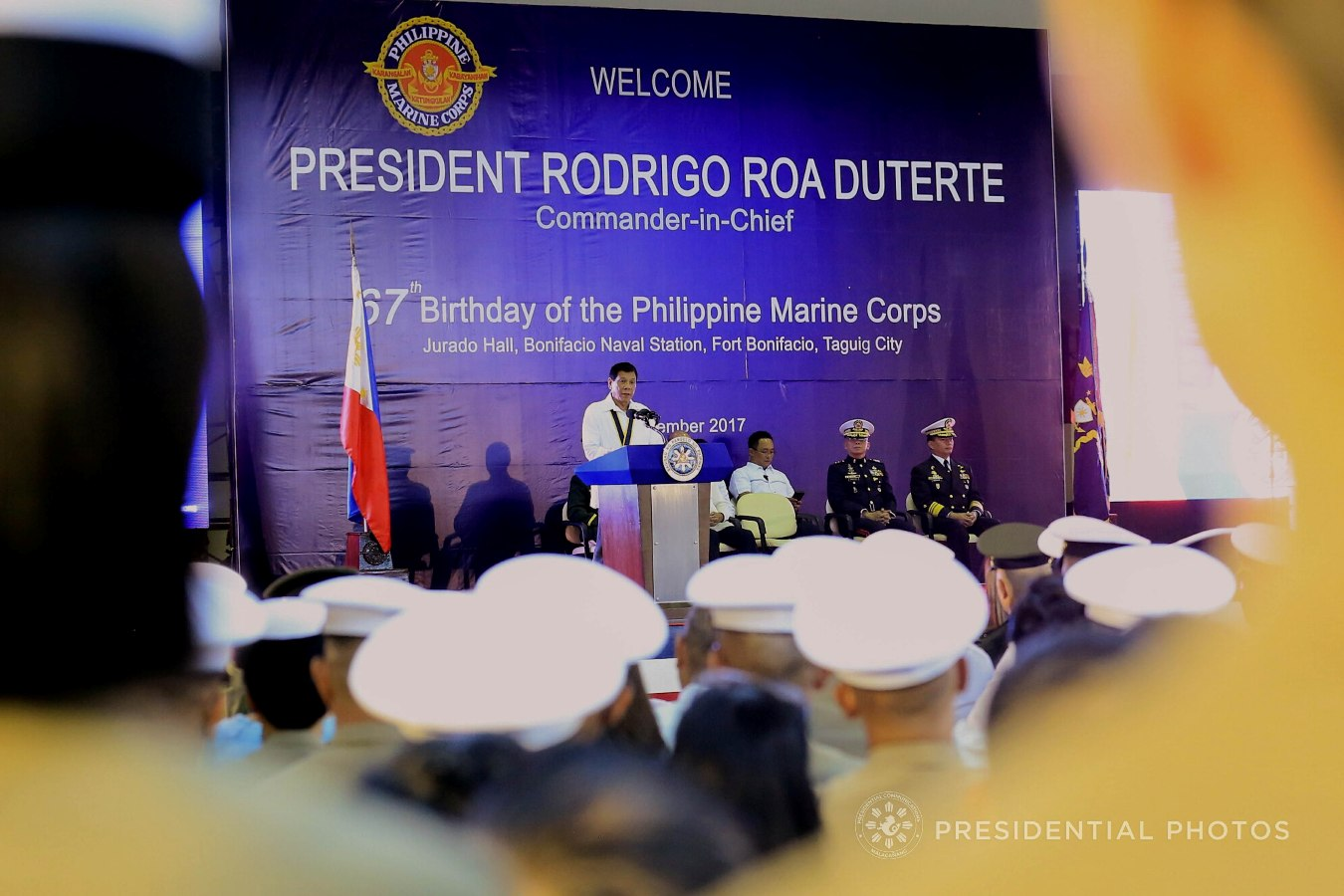 President Rodrigo Roa Duterte, in his speech during the 67th Birthday celebration of the Philippine Marine Corps at the Bonifacio Naval Station in Fort Bonifacio, Taguig City on November 7, 2017, lauds the army and police for a job well done in liberating Marawi City. Likewise, he also acknowledged the help of various countries in the war against the terrorists in Marawi City. ALBERT ALCAIN/PRESIDENTIAL PHOTO