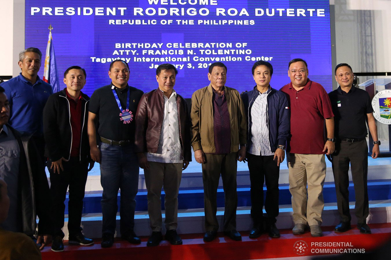 President Rodrigo Roa Duterte poses for posterity with former Presidential Adviser on Political Affairs Atty. Francis Tolentino and other distinguished guests during the latter's birthday celebration at the Tagaytay International Convention Center in Tagaytay City, Cavite on January 3, 2019. ALFRED FRIAS/PRESIDENTIAL PHOTO