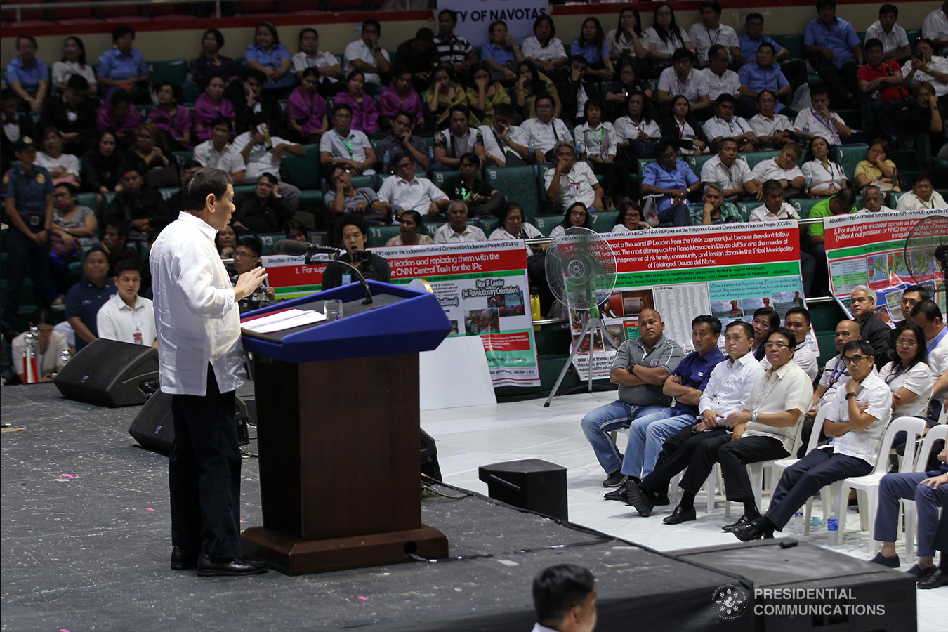 President Rodrigo Roa Duterte delivers his speech during the Barangay Summit on Peace and Order held at the Cuneta Astrodome in Pasay City on January 8, 2019. ACE MORANDANTE/PRESIDENTIAL PHOTO