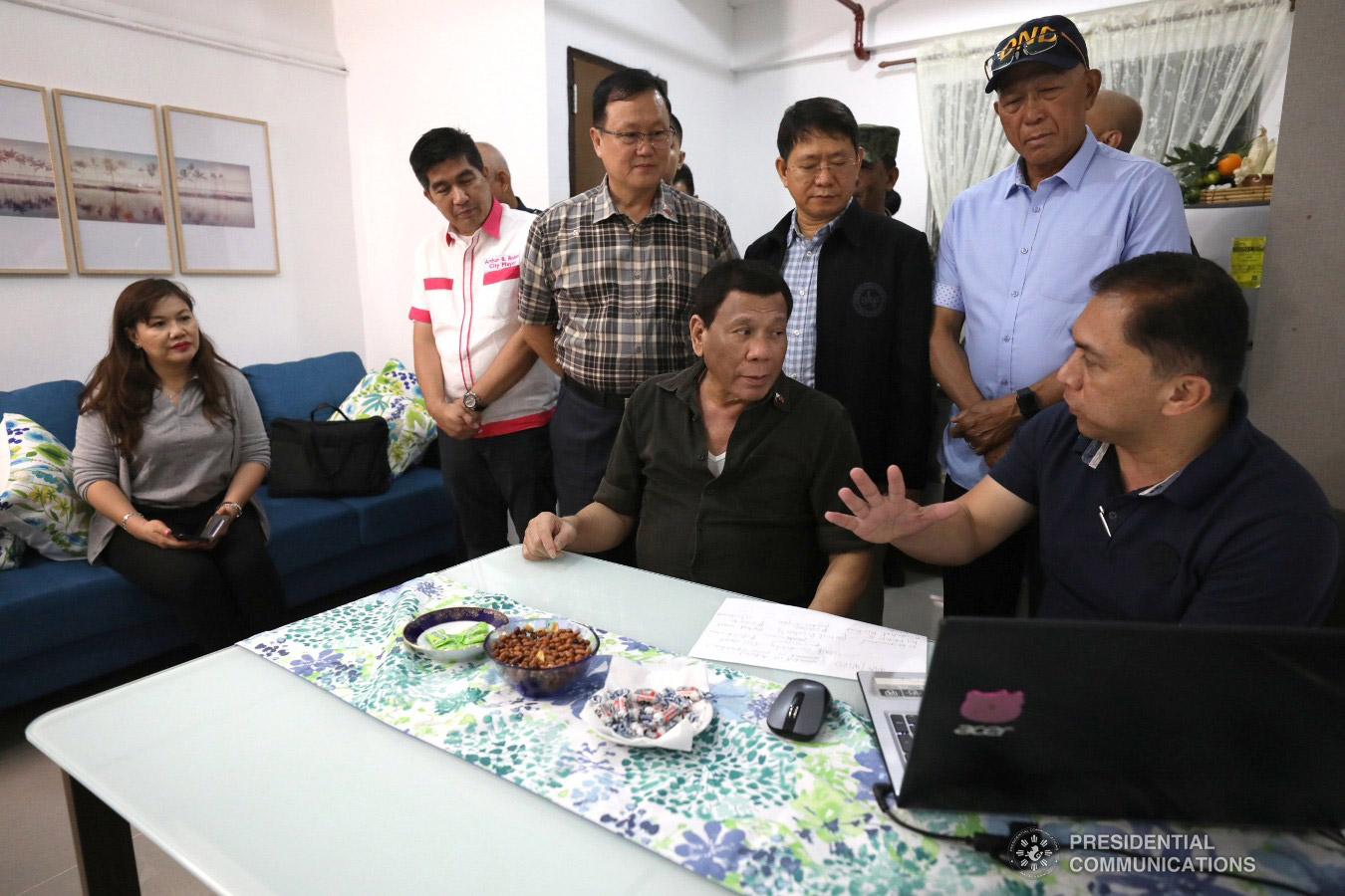"""President Rodrigo Roa Duterte listens to the briefing of National Housing Authority General Manager Marcelino Escalada Jr. as he inspects one of the housing units at the Pleasant View Residences in the City of San Jose del Monte, Bulacan which were turned over to wounded soldiers and law enforcers during a ceremony held on January 10, 2019. Joining the President are Ms. Cielito """"Honeylet"""" Avanceña, Housing and Urban Development Coordinating Council Chair Eduardo del Rosario, Interior and Local Government Secretary Eduardo Año, and Defense Secretary Delfin Lorenzana. TOTO LOZANO/PRESIDENTIAL PHOTO"""