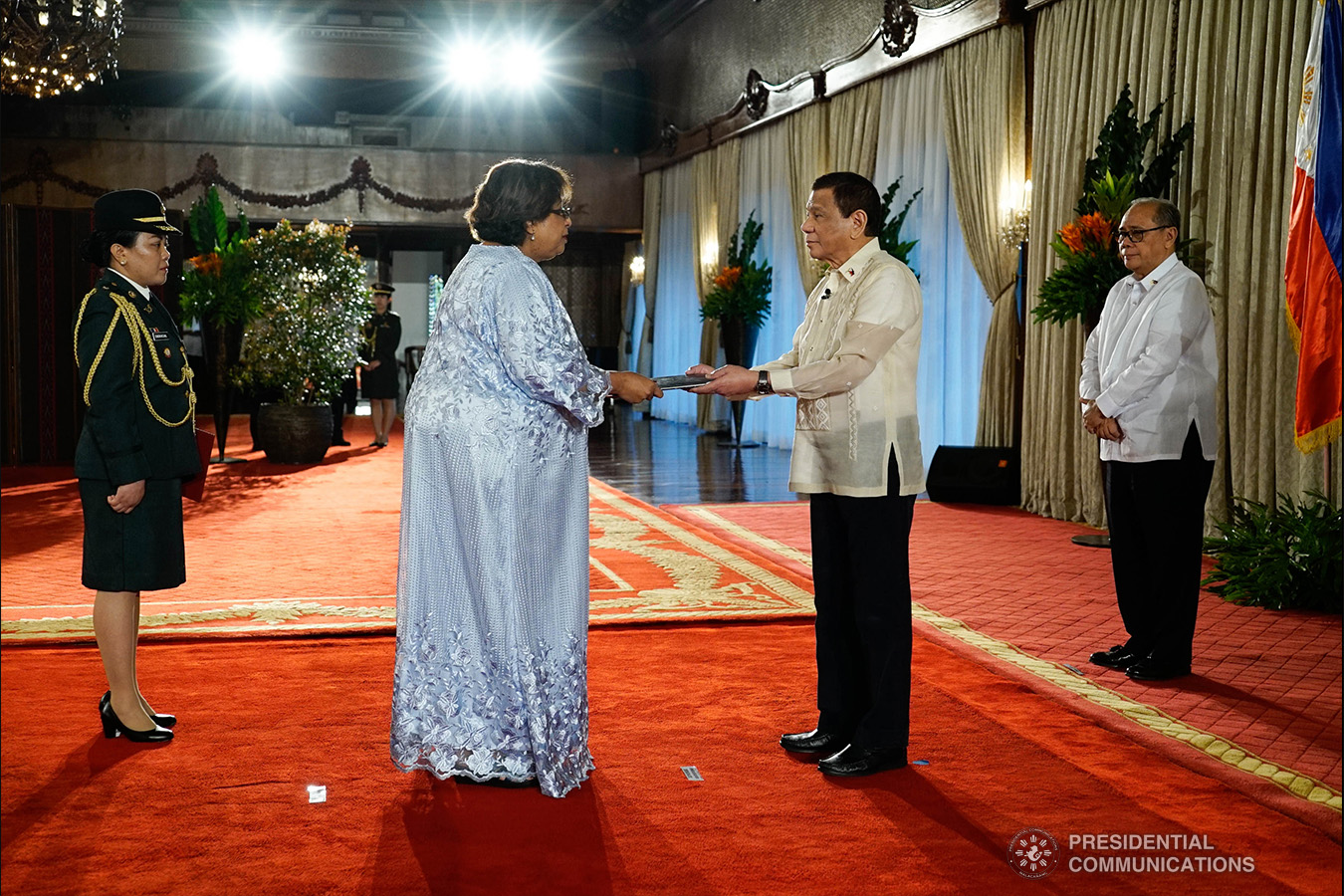 President Rodrigo Roa Duterte receives the credentials of Non-resident Ambassador Designate of the Republic of the Gambia Ramzia Diab Ghanim during a ceremony at the Malacañan Palace on January 21, 2019. KING RODRIGUEZ/PRESIDENTIAL PHOTO