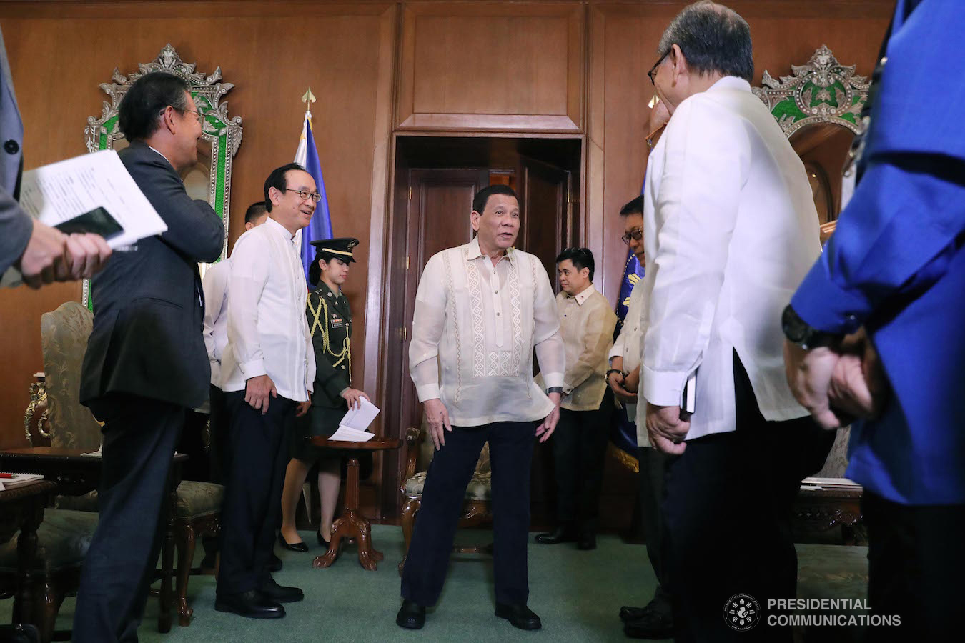 President Rodrigo Roa Duterte shares a light moment with Japanese Ambassador to the Philippines, Koji Haneda, and members of his cabinet during the Japanese Ambassador's courtesy call on the President at the Malacañan Palace on January 21, 2019. ROLANDO MAILO/PRESIDENTIAL PHOTO