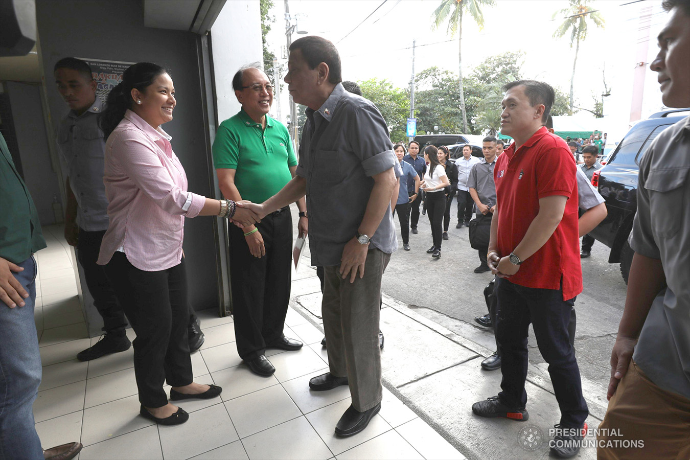 President Rodrigo Roa Duterte is welcomed by Alliance of Organizations, Networks, and Associations (ALONA) Partylist Representative Anna Suarez upon his arrival at the Quezon Convention Center in Lucena City, province of Quezon on his way to attend the annual assembly of the Provincial Union of Leaders Against Illegality (PULI) on January 22, 2019. TOTO LOZANO/PRESIDENTIAL PHOTO
