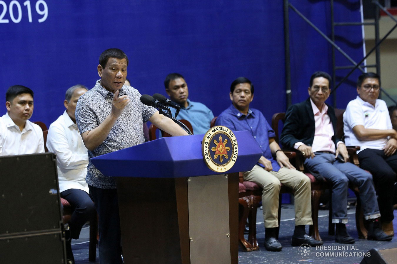 President Rodrigo Roa Duterte delivers his speech during the Tricycle Operators and Drivers' Association (TODA) Summit at the Cuneta Astrodome in Pasay City on January 23, 2019. ALBERT ALCAIN/PRESIDENTIAL PHOTO