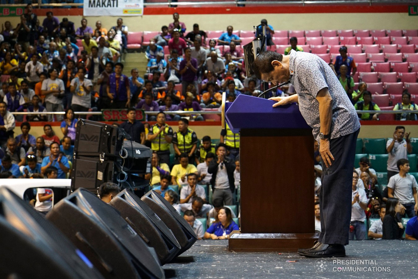 President Rodrigo Roa Duterte bows before the attendees of the Tricycle Operators and Drivers' Association (TODA) Summit at the Cuneta Astrodome in Pasay City on January 23, 2019. KING RODRIGUEZ/PRESIDENTIAL PHOTO