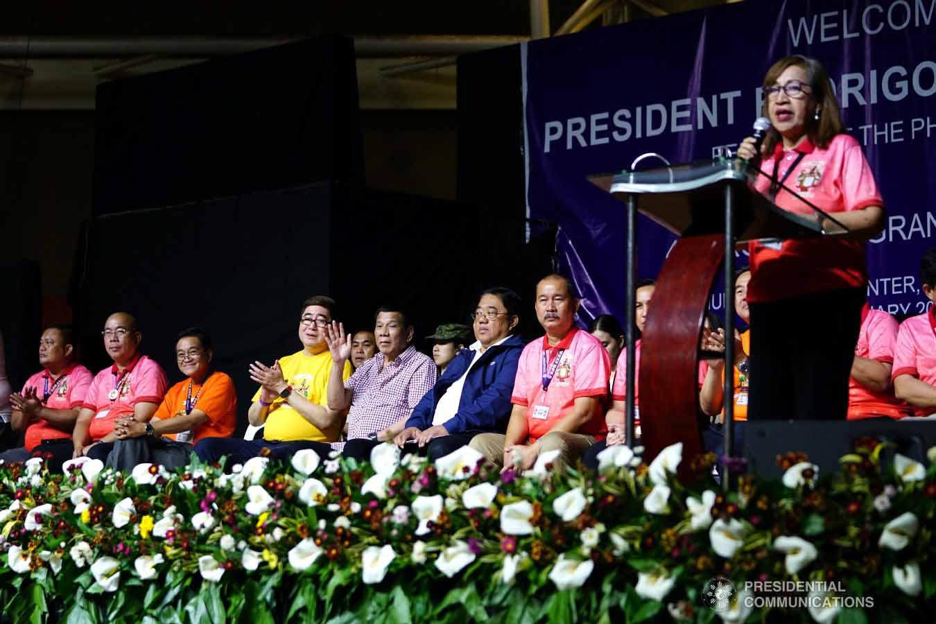 President Rodrigo Roa Duterte waves to the crowd during the 4th Roa Clan Grand Reunion at the Limketkai Center in Cagayan de Oro City on January 25, 2019. JOEY DALUMPINES/PRESIDENTIAL PHOTO