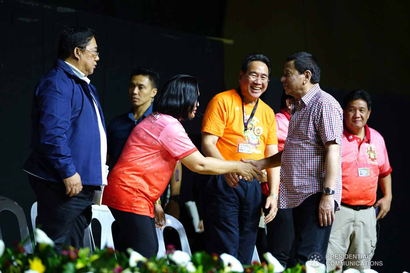 President Rodrigo Roa Duterte shares a light moment with some of the guests during the 4th Roa Clan Grand Reunion at the Limketkai Center in Cagayan de Oro City on January 25, 2019. JOEY DALUMPINES/PRESIDENTIAL PHOTO