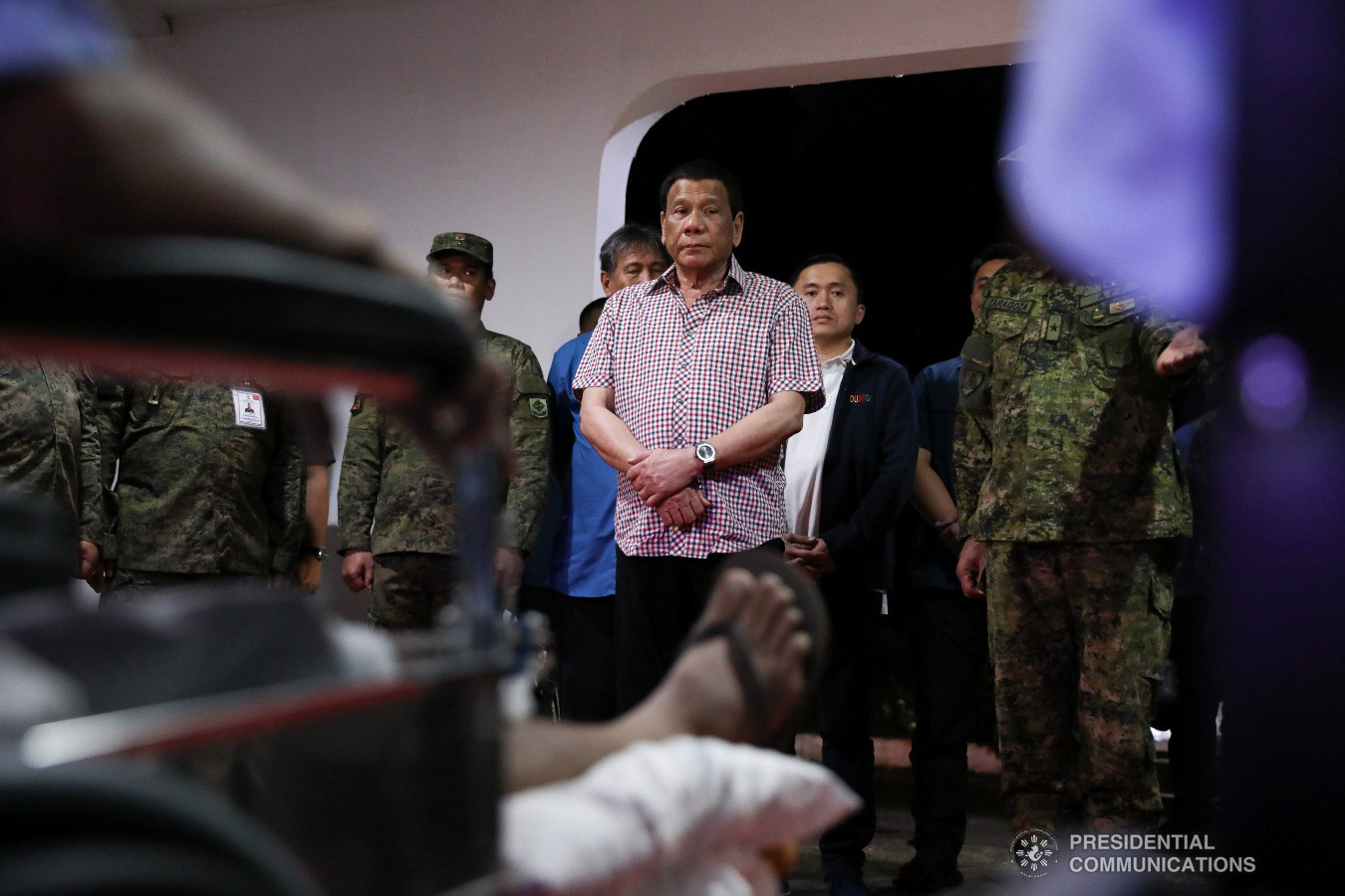 President Rodrigo Roa Duterte talks to the wounded soldiers he visited at Camp Evangelista Station Hospital in Cagayan de Oro City on January 25, 2019. KARL NORMAN ALONZO/PRESIDENTIAL PHOTO