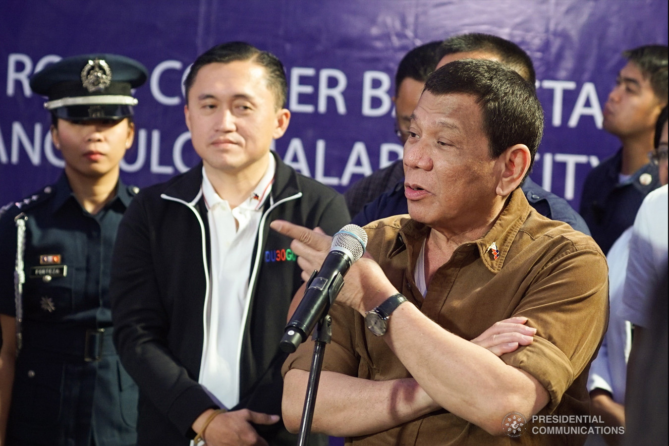 President Rodrigo Roa Duterte answers questions from members of the media after leading the groundbreaking ceremony for the construction of the San Lorenzo Ruiz General Hospital (SLRGH) in Malabon City on January 29, 2019. RENE LUMAWAG/PRESIDENTIAL PHOTO