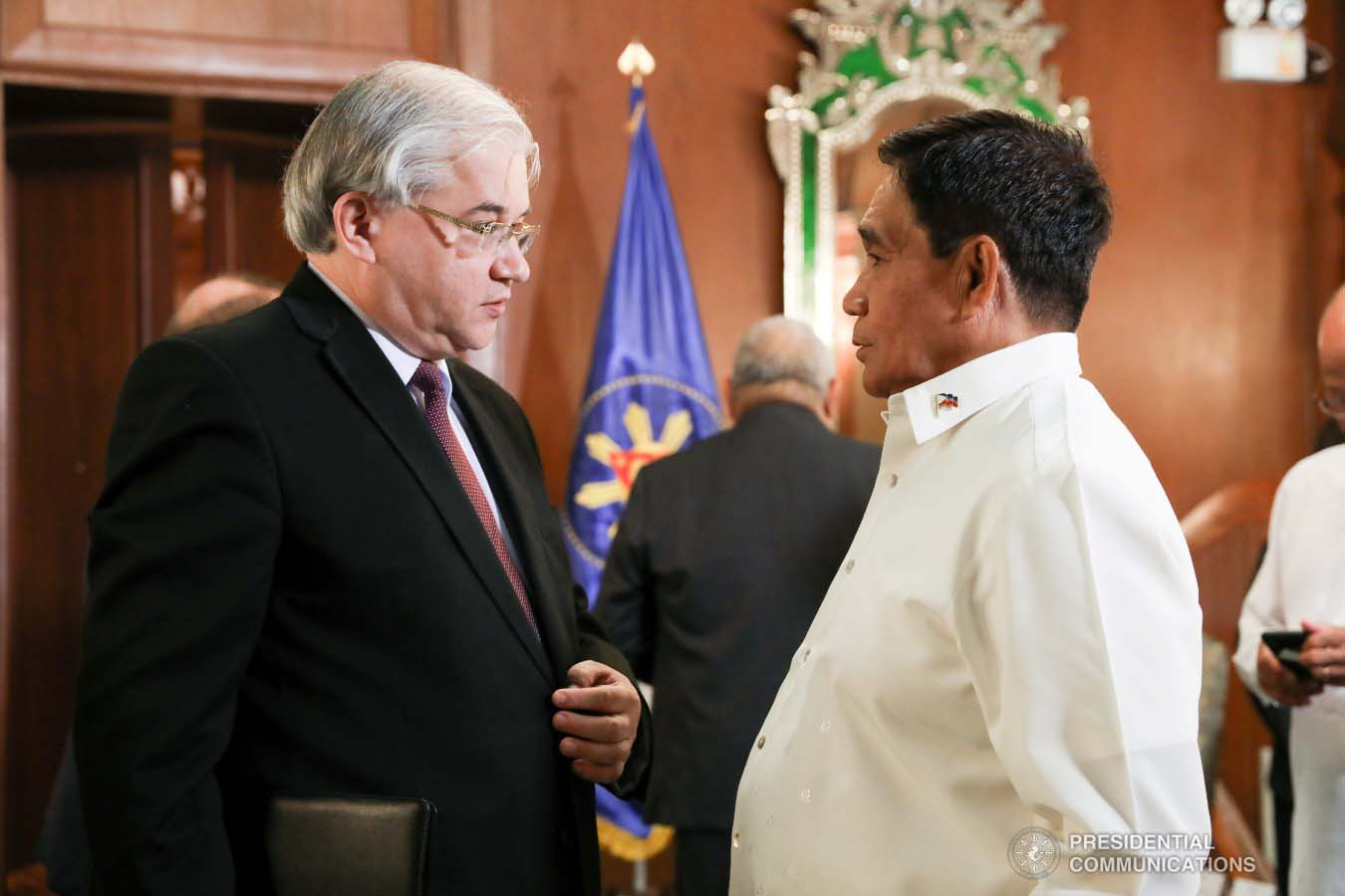 National Security Adviser Hermogenes Esperon Jr. discusses matters with Russian Ambassador to the Philippines Igor Khovaev who paid a courtesy call on President Rodrigo Roa Duterte at the Malacañan Palace on January 31, 2019. TOTO LOZANO/PRESIDENTIAL PHOTO