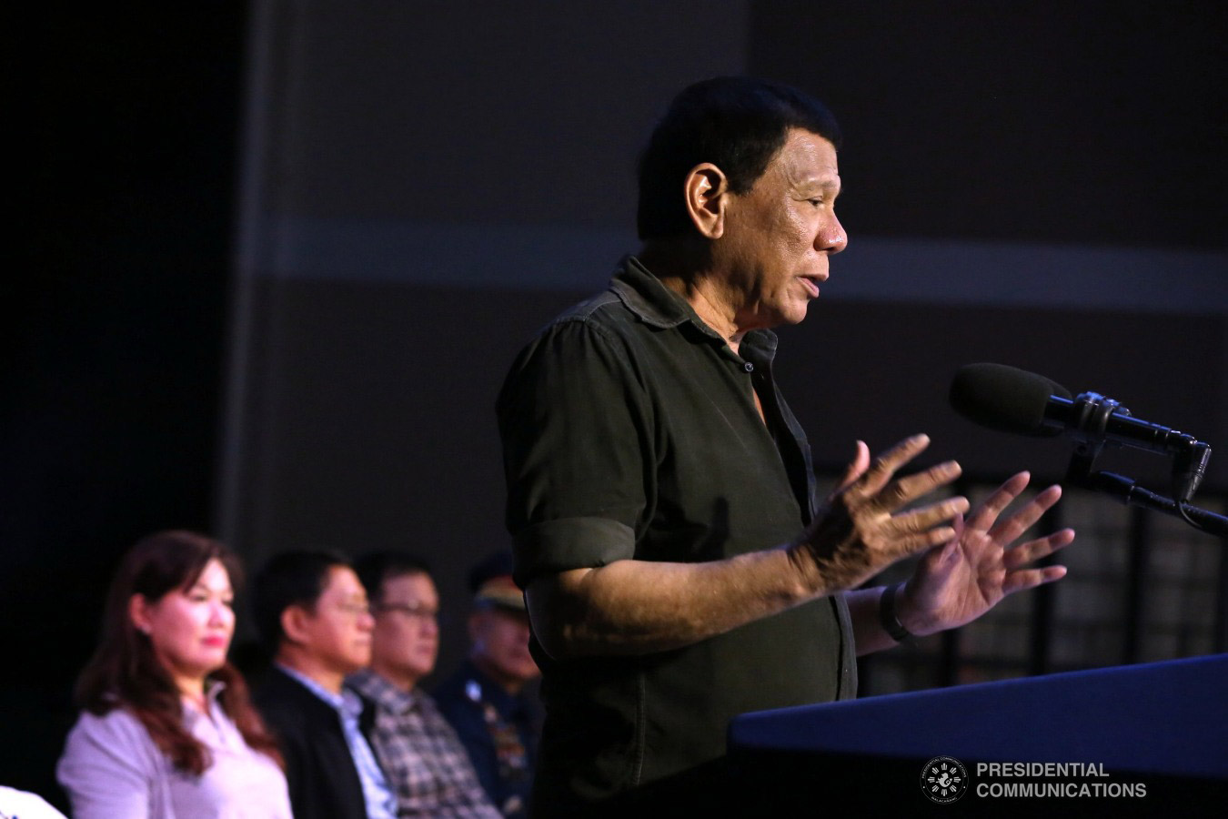 President Rodrigo Roa Duterte delivers his speech after leading the ceremonial turnover of housing units to wounded police officers and soldiers at the Pleasant View Residences in the City of San Jose del Monte, Bulacan on January 10, 2019. REY BANIQUET/PRESIDENTIAL PHOTO