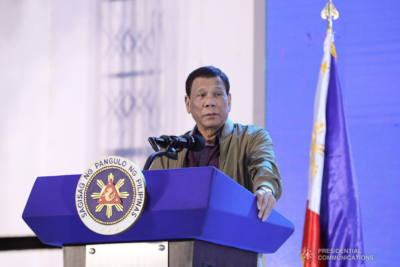 President Rodrigo Roa Duterte delivers his message during the birthday celebration of former Presidential Adviser on Political Affairs Atty. Francis Tolentino held at the Tagaytay International Convention Center in Tagaytay City, Cavite on January 3, 2019. VALERIE ESCALERA/PRESIDENTIAL PHOTO