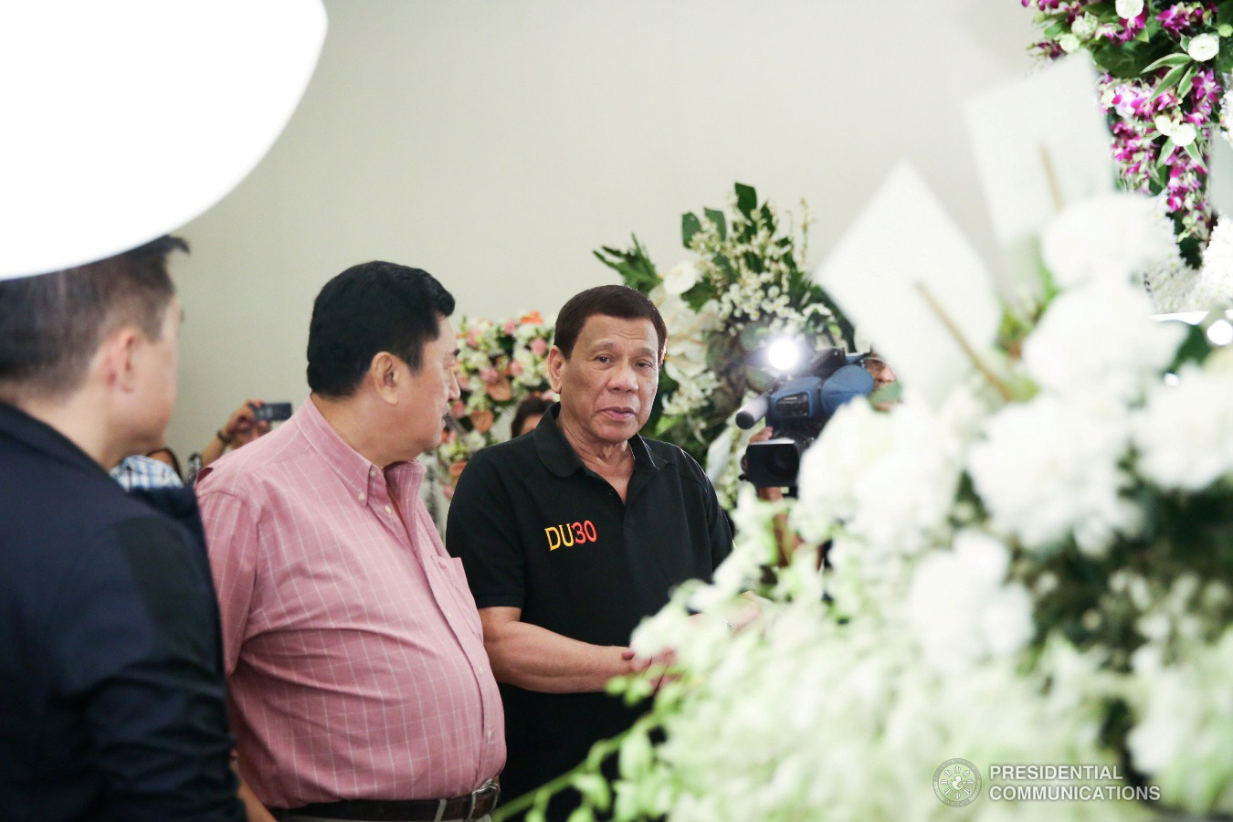 President Rodrigo Roa Duterte condoles with Labor and Employment Undersecretary Jacinto Paras as the President visited the wake of the Undersecretary's wife Olivia Paras at the Heritage Park in Taguig City on February 5, 2019. ALFRED FRIAS/PRESIDENTIAL PHOTO