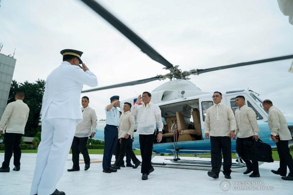 President Rodrigo Roa Duterte is welcomed by Armed Forces of the Philippines Chief of Staff General Benjamin Madrigal Jr. upon his arrival at the House of Representatives in Quezon City to deliver his Fourth State of the Nation Address on July 22, 2019. KING RODRIGUEZ/PRESIDENTIAL PHOTO