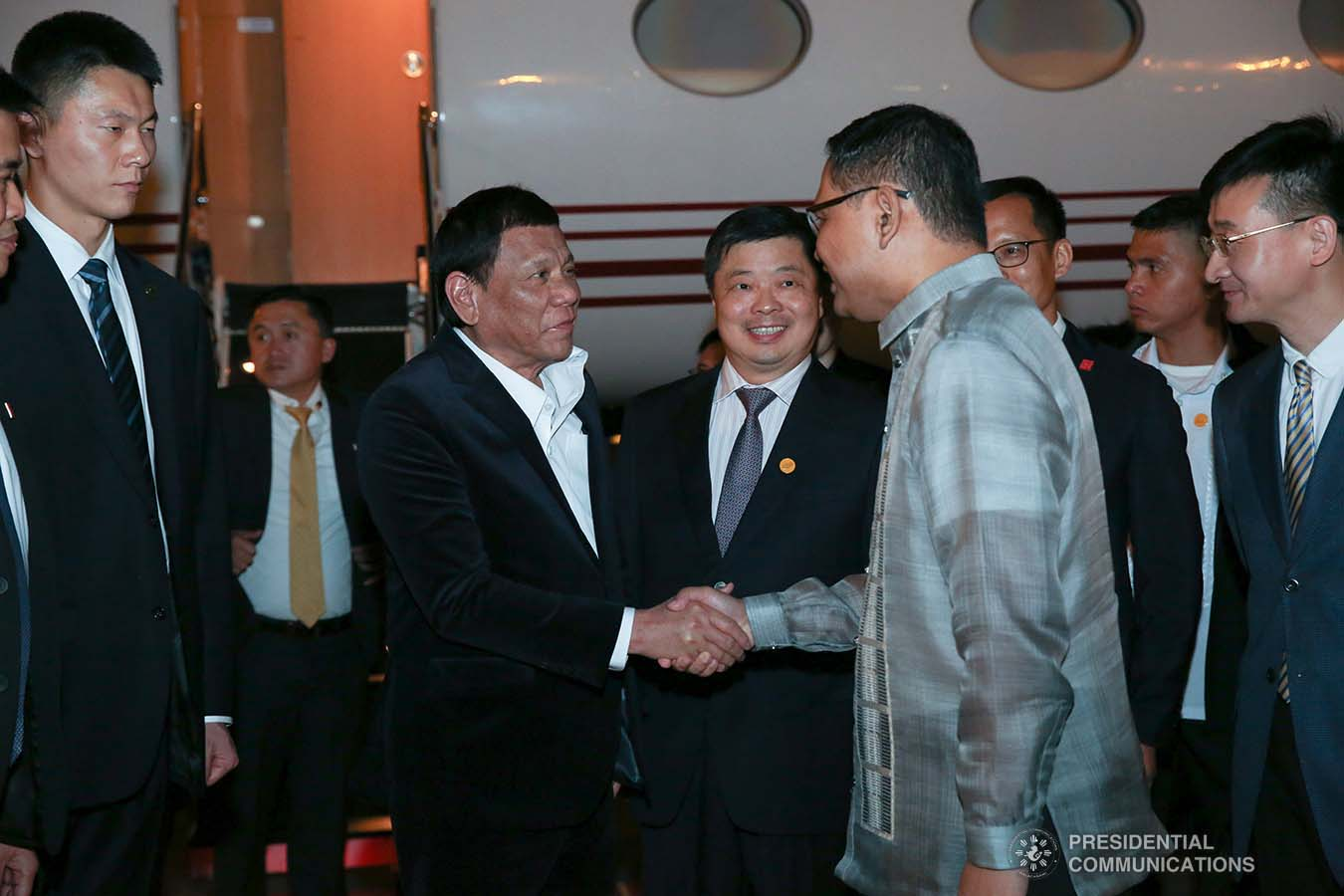 President Rodrigo Roa Duterte receives a warm welcome from Consul General Marshall Alferez upon his arrival at the Guangzhou Baiyun International Airport in Guangdong Province, People's Republic of China on August 30, 2019. ALBERT ALCAIN/PRESIDENTIAL PHOTO