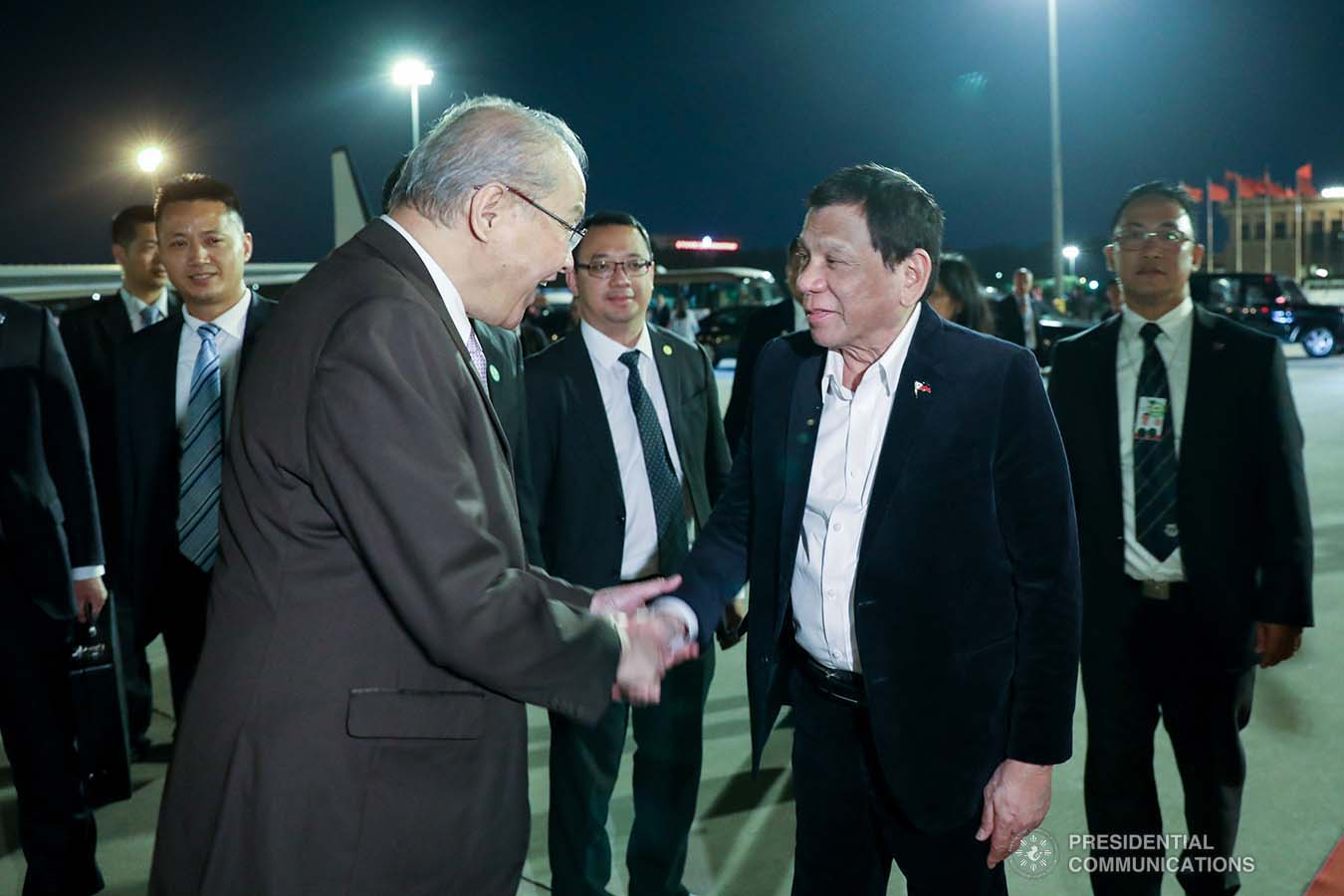 President Rodrigo Roa Duterte bids farewell to Philippine Ambassador to the People's Republic of China Jose Sta. Romana as he prepares to board a plane bound for Guangdong Province at the Beijing Capital International Airport on August 30, 2019. ACE MORANDANTE/PRESIDENTIAL PHOTO
