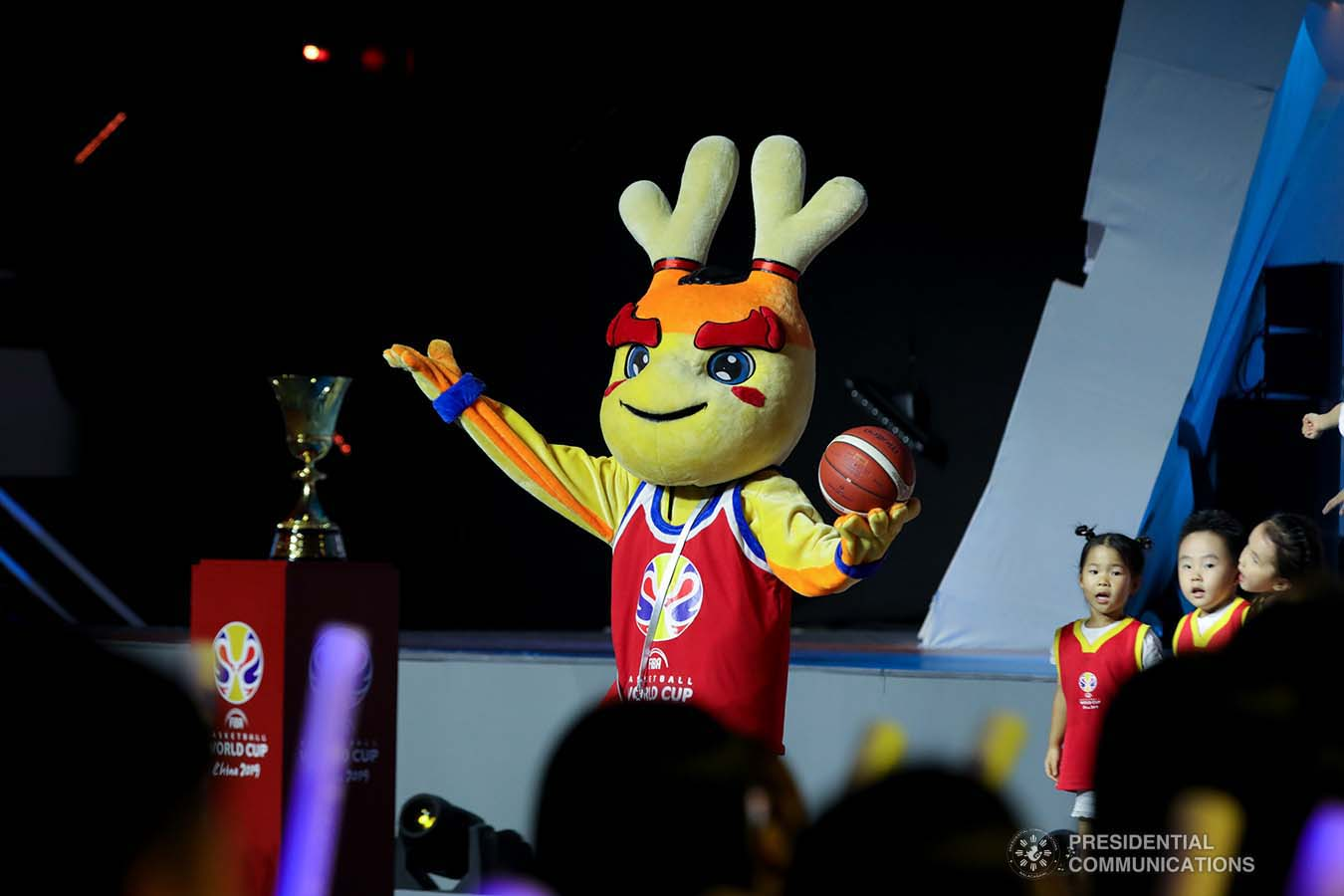 A mascot entertains the attendees of the FIBA Basketball World Cup 2019 opening ceremony at the National Aquatics Center in Beijing, People's Republic of China on August 30, 2019. President Rodrigo Roa Duterte was among the guests during the opening of the prestigious international cagefest. ROBINSON NIÑAL JR./PRESIDENTIAL PHOTO