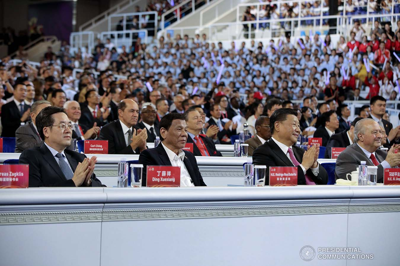 President Rodrigo Roa Duterte witnesses the program proper during the opening ceremony of the FIBA Basketball World Cup 2019 at the National Aquatics Center in Beijing, People's Republic of China on August 30, 2019. With the President is People's Republic of China President Xi Jinping. ROBINSON NIÑAL JR./PRESIDENTIAL PHOTO