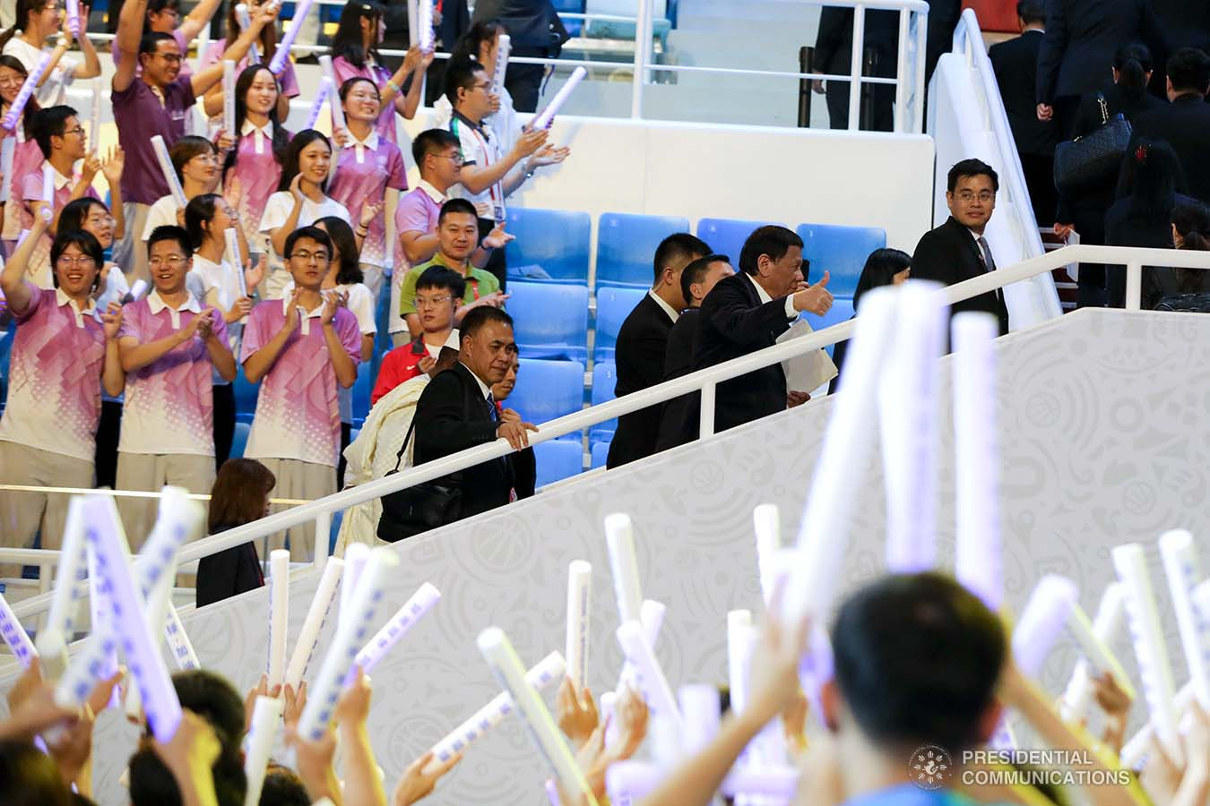 President Rodrigo Roa Duterte gives the thumbs up to the Gilas Pilipinas during the opening ceremony of the FIBA Basketball World Cup 2019 at the National Aquatics Center in Beijing, People's Republic of China on August 30, 2019. ROBINSON NIÑAL JR./PRESIDENTIAL PHOTO