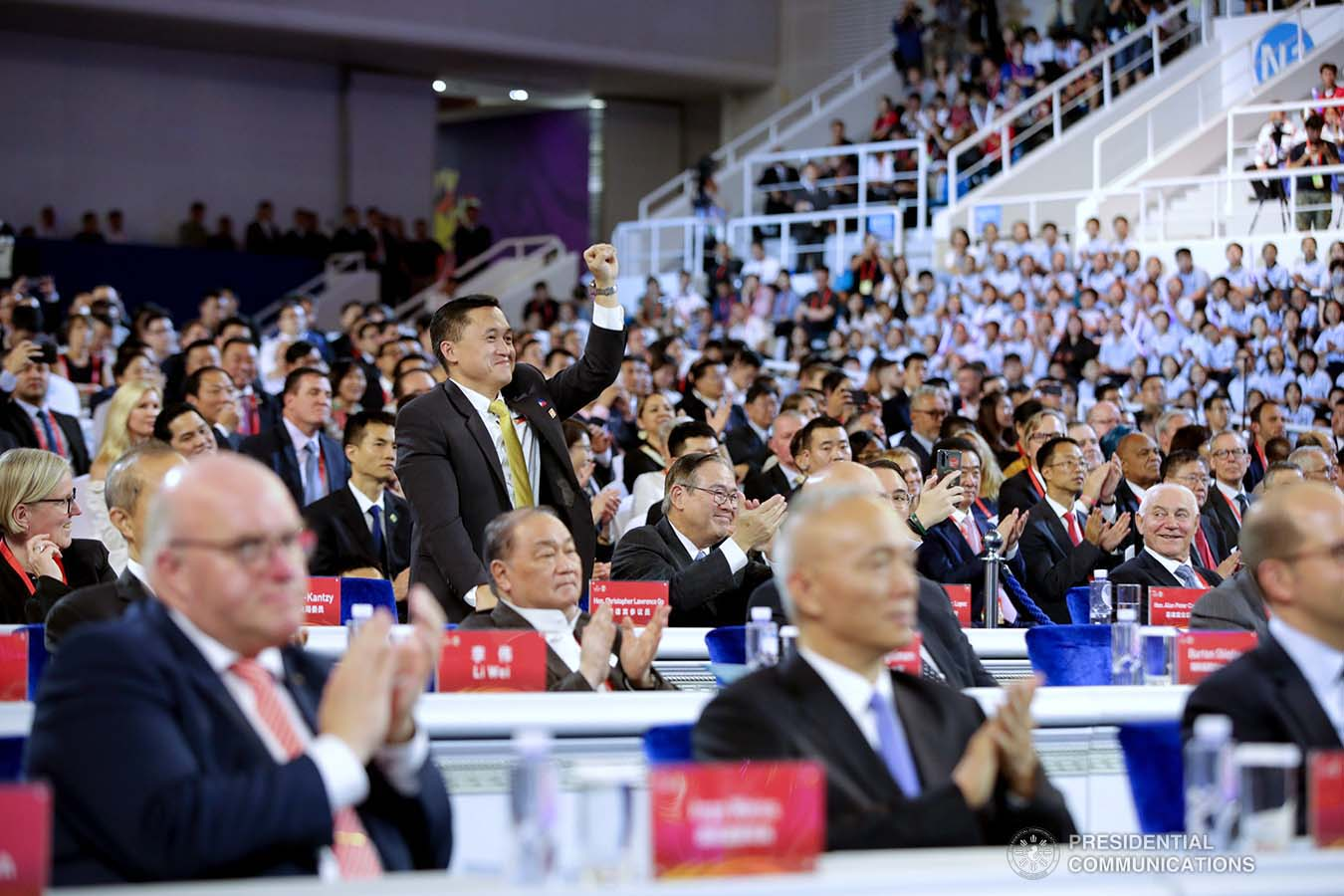 """Senator Christopher """"Bong"""" Go shows his support for Gilas Pilipinas during the opening ceremony of the FIBA Basketball World Cup 2019 at the National Aquatics Center in Beijing, People's Republic of China on August 30, 2019. President Rodrigo Roa Duterte was among the guests during the opening of the prestigious international cagefest. ROBINSON NIÑAL JR./PRESIDENTIAL PHOTO"""