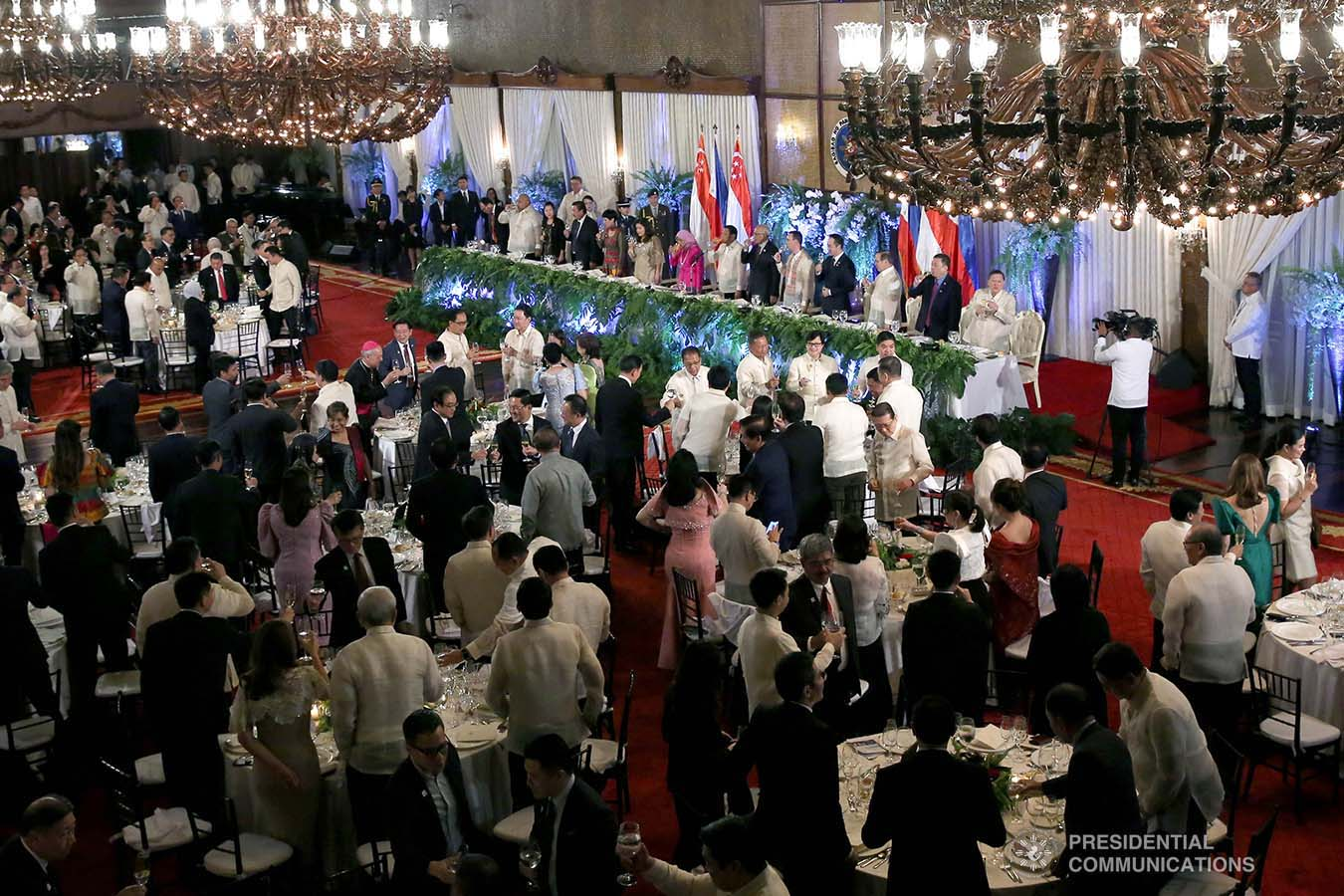 President Rodrigo Roa Duterte hosts a state banquet for Republic of Singapore President Halimah Yacob at the Malacañan Palace during the latter's state visit to the Philippines on September 9, 2019. ALBERT ALCAIN/PRESIDENTIAL PHOTO
