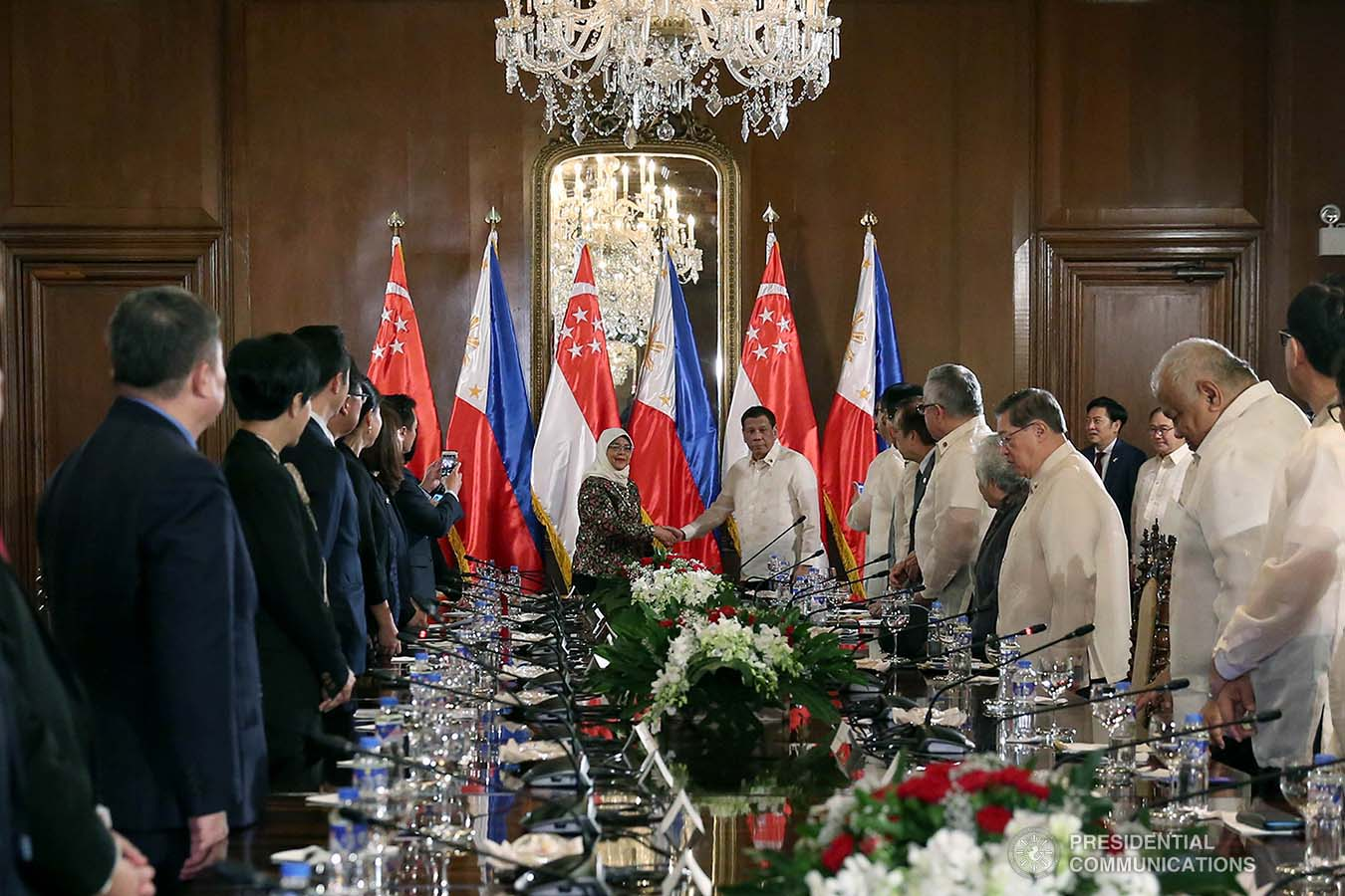 President Rodrigo Roa Duterte and Republic of Singapore President Halimah Yacob pose for posterity prior to the start of their expanded bilateral meeting at the Malacañan Palace during the latter's state visit to the Philippines on September 9, 2019. SIMEON CELI JR./PRESIDENTIAL PHOTO