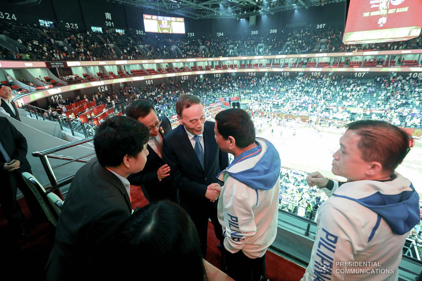 President Rodrigo Roa Duterte is given a warm welcome by People's Republic of China Vice President Wang Qishan upon his arrival at the Foshan International Sports and Cultural Center in Guangdong to watch the basketball match of Gilas Pilipinas against Italy during the FIBA Basketball World Cup 2019 game on August 31, 2019.  SIMEON CELI/ PRESIDENTIAL PHOTO