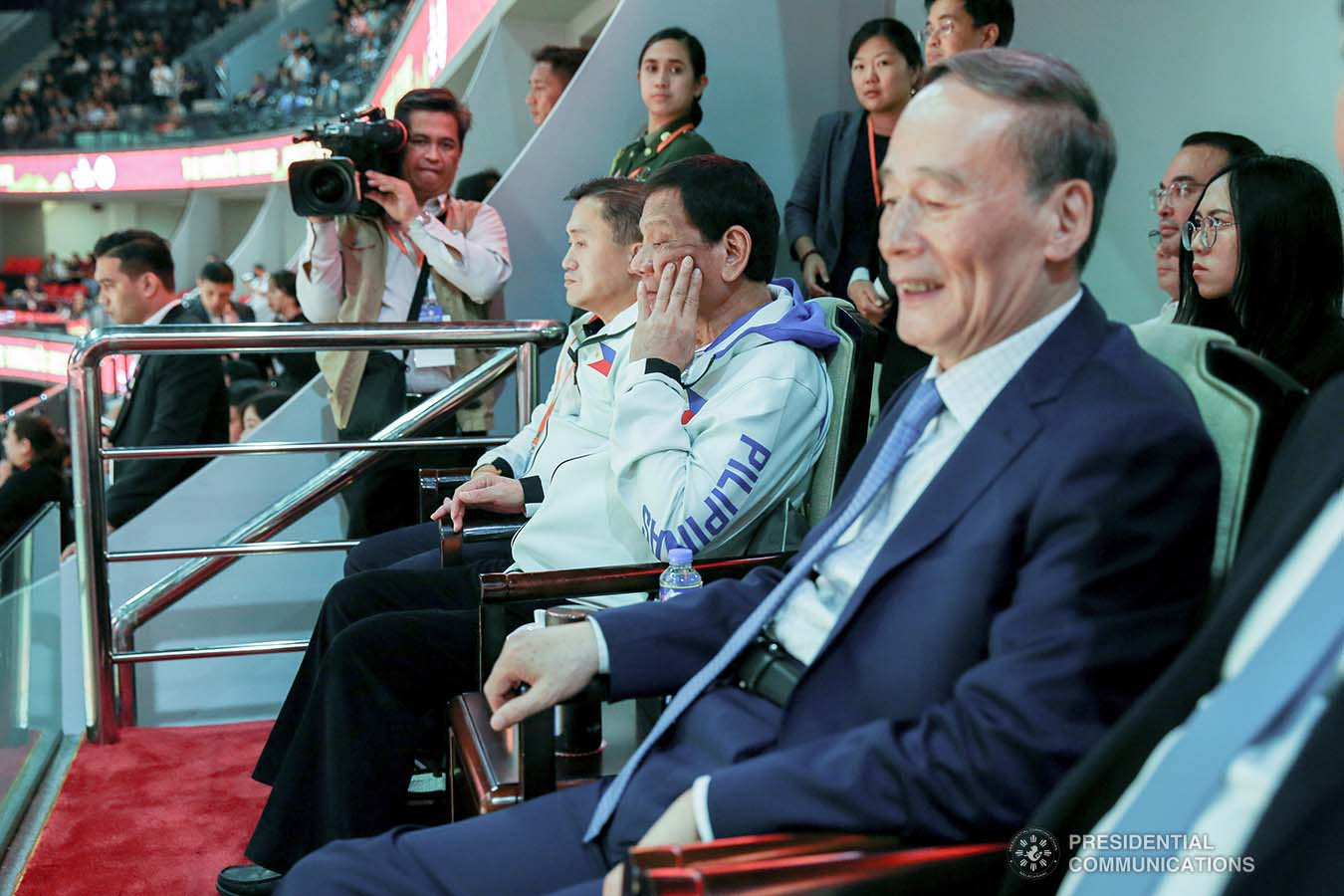 President Rodrigo Roa Duterte is accompanied by People's Republic of China Vice President Wang Qishan as he watches the basketball match of Gilas Pilipinas against Italy during the FIBA Basketball World Cup 2019 game at the Foshan International Sports and Cultural Center in Guangdong on August 31, 2019. With the President is Senator Christopher Lawrence Go. SIMEON CELI/ PRESIDENTIAL PHOTO