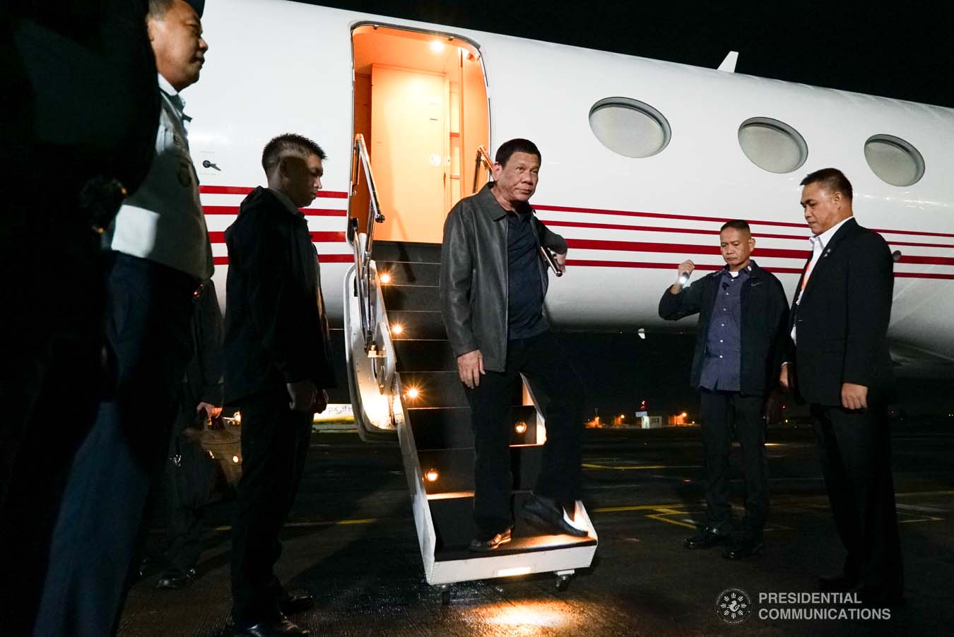 President Rodrigo Roa Duterte arrives at the Villamor Air Base in Pasay City on September 1, 2019 following his successful official visit to the People's Republic of China. KING RODRIGUEZ/PRESIDENTIAL PHOTO