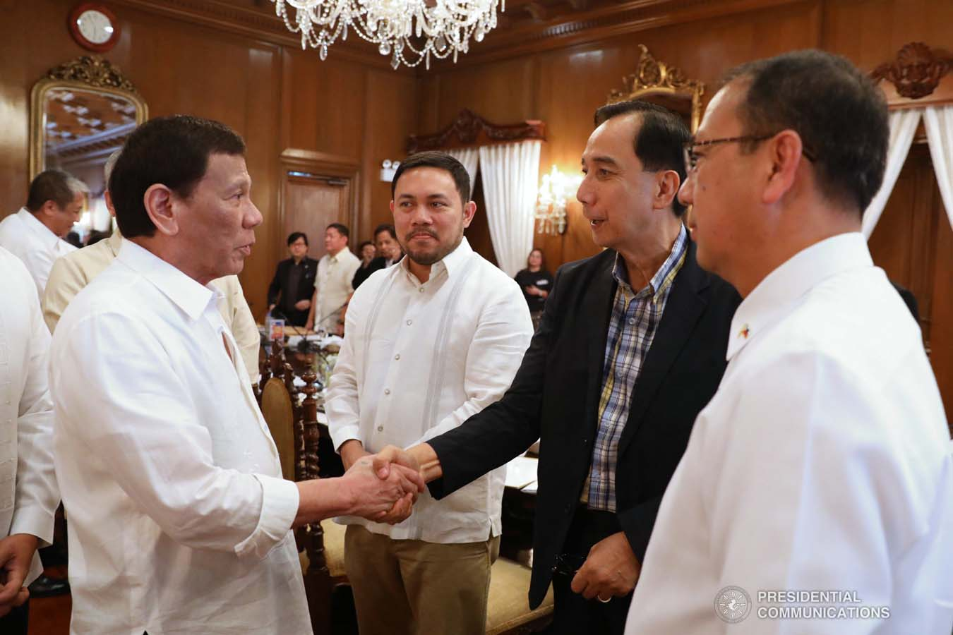 President Rodrigo Roa Duterte greets some members of the cabinet prior to the start of the 41st Cabinet Meeting at the Malacañan Palace on September 4, 2019. ACE MORANDANTE/PRESIDENTIAL PHOTO
