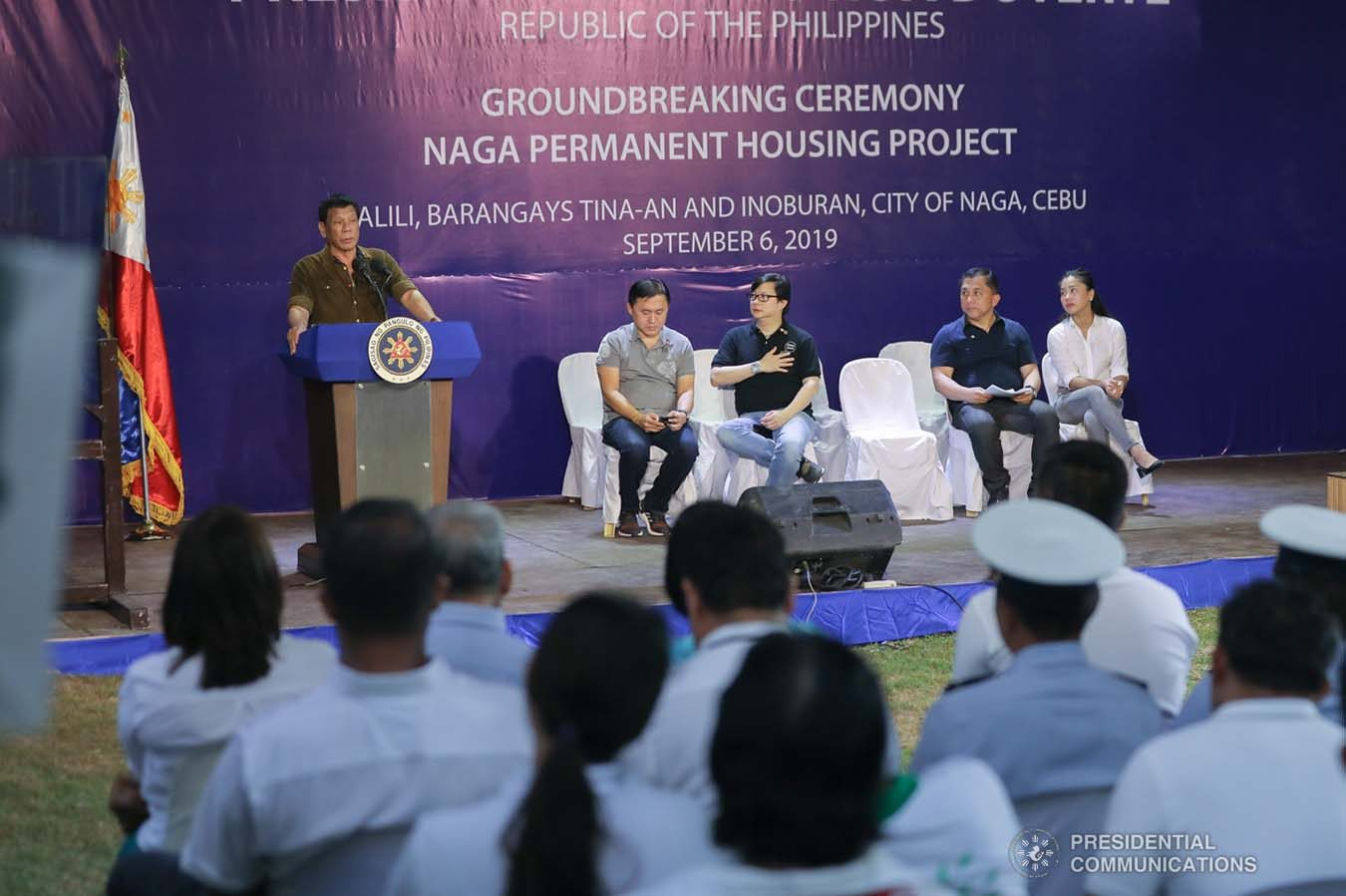 President Rodrigo Roa Duterte delivers his speech as he leads the groundbreaking ceremony and time capsule laying of the Naga Permanent Housing Project in Naga City, Cebu on September 6, 2019. ALFRED FRIAS/ PRESIDENTIAL PHOTO