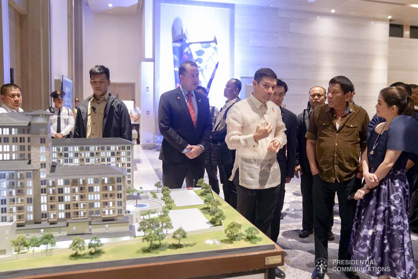 President Rodrigo Roa Duterte is given a briefing by Torre Lorenzo Development Corporation (TLDC) CEO Tomas Lorenzo and Tourism Secretary Bernadette Romulo-Puyat during the inauguration of the Dusit D2 Davao Hotel in Davao City on September 6, 2019. ARMAN BAYLON/PRESIDENTIAL PHOTO
