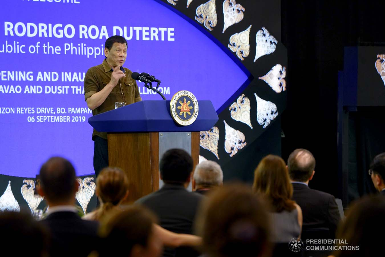 President Rodrigo Roa Duterte delivers his speech during the inauguration of the Dusit D2 Davao Hotel in Davao City on September 6, 2019. JOEY DALUMPINES/PRESIDENTIAL PHOTO