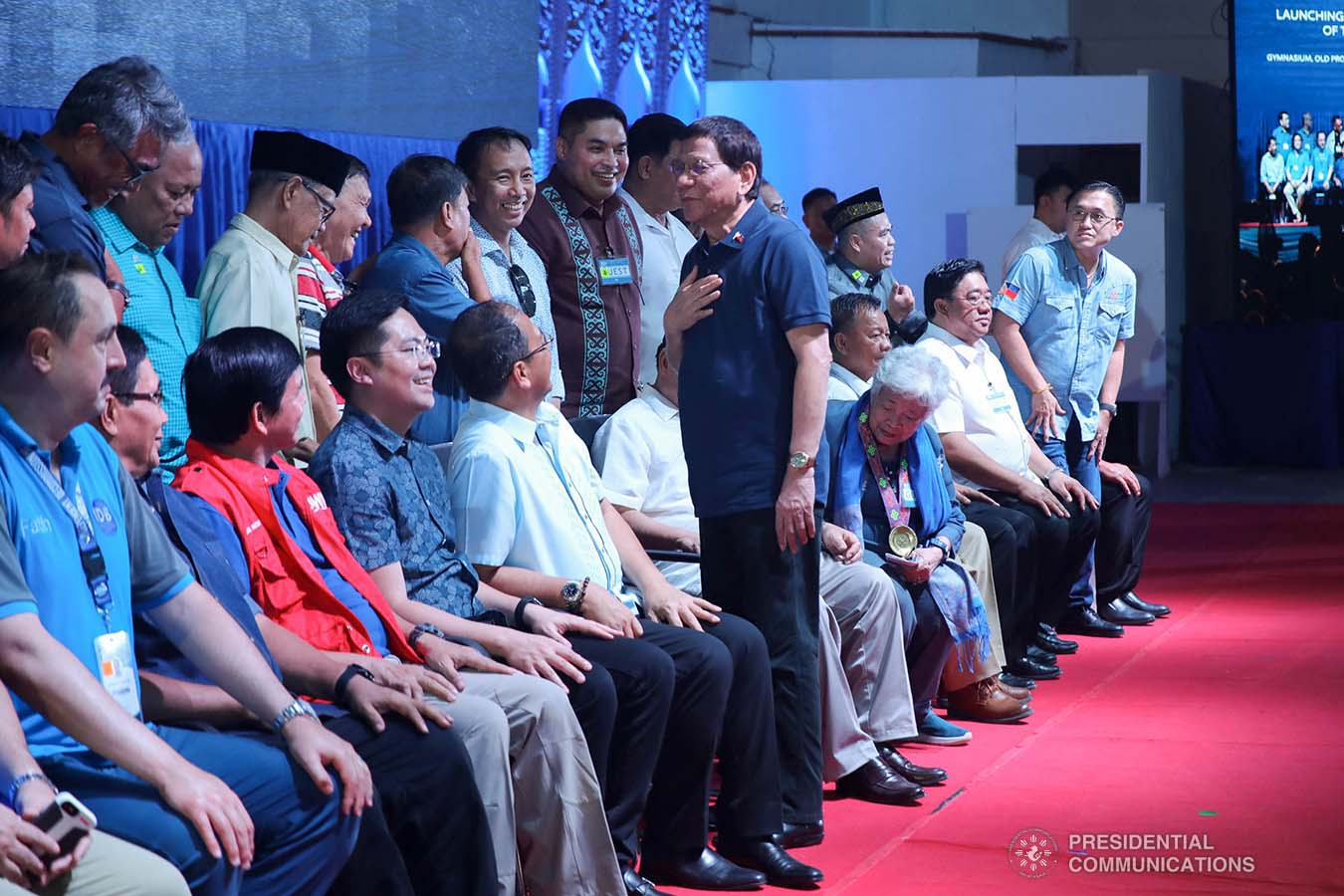 President Rodrigo Roa Duterte interacts with the guests during the launch of the second phase of the decommissioning of Moro Islamic Liberation Front combatants and weapons at the Old Provincial Capitol Compound in Sultan Kudarat, Maguindanao on September 7, 2019. ROBINSON NIÑAL JR./PRESIDENTIAL PHOTO