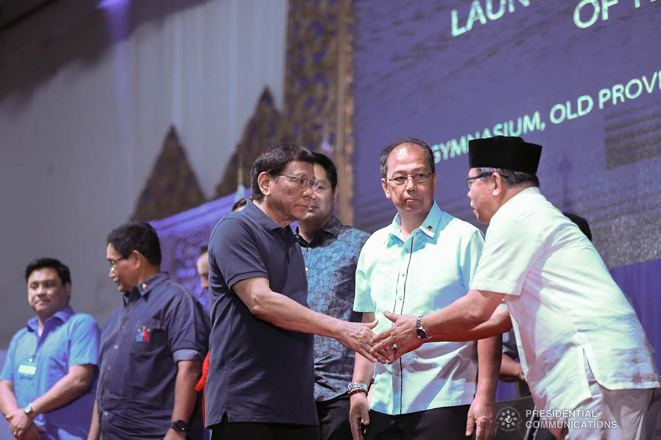 President Rodrigo Roa Duterte is greeted by Bangsamoro Autonomous Region in Muslim Mindanao (BARMM) Interim Chief Minister Al Haj Murad Ebrahim during the launch of the second phase of the decommissioning of Moro Islamic Liberation Front combatants and weapons at the Old Provincial Capitol Compound in Sultan Kudarat, Maguindanao on September 7, 2019. KARL NORMAN ALONZO/PRESIDENTIAL PHOTO