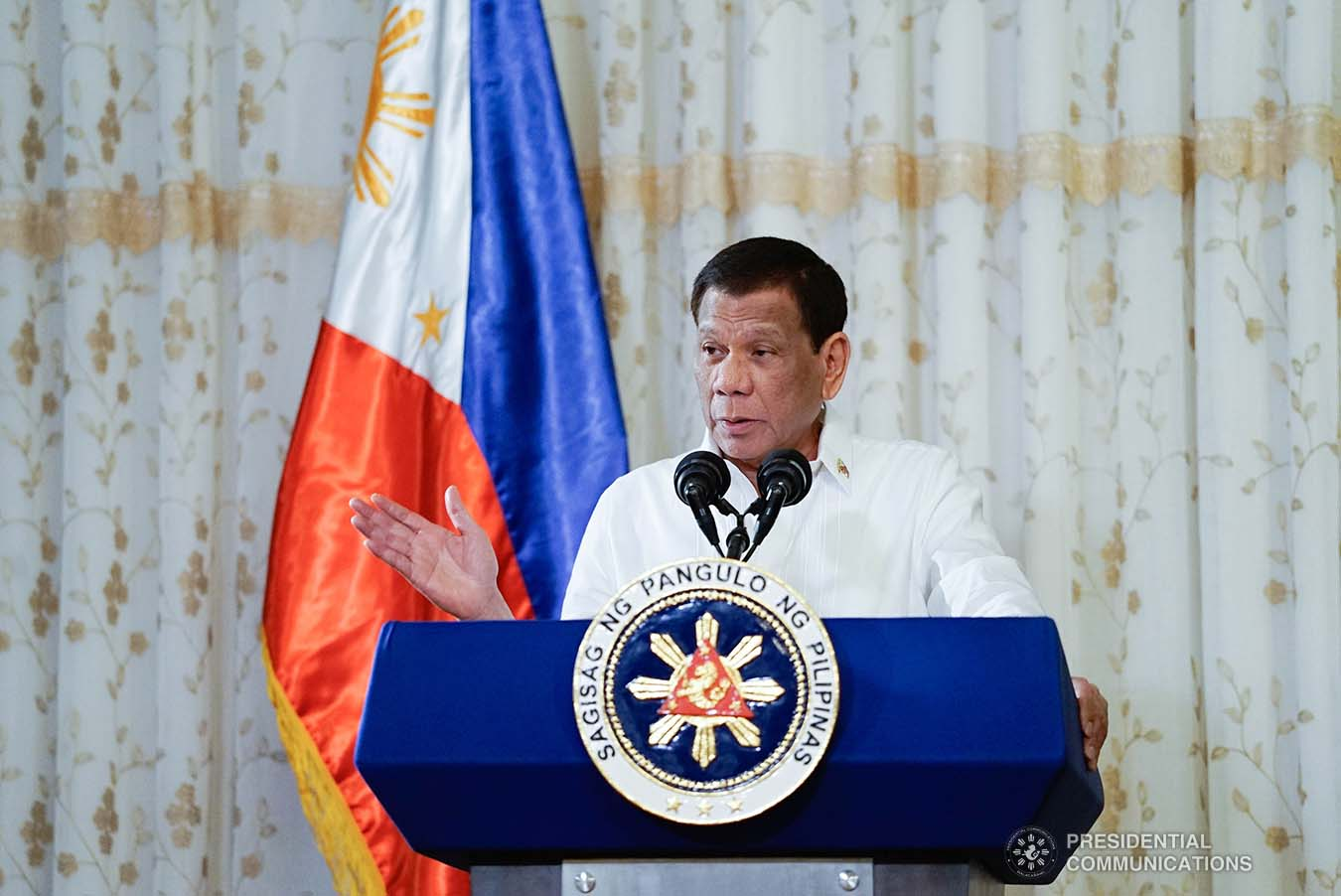 President Rodrigo Roa Duterte delivers his speech during the oath-taking ceremony of the officers of the League of Vice Governors of the Philippines at the Malacañan Palace on September 10, 2019. KING RODRIGUEZ/PRESIDENTIAL PHOTO