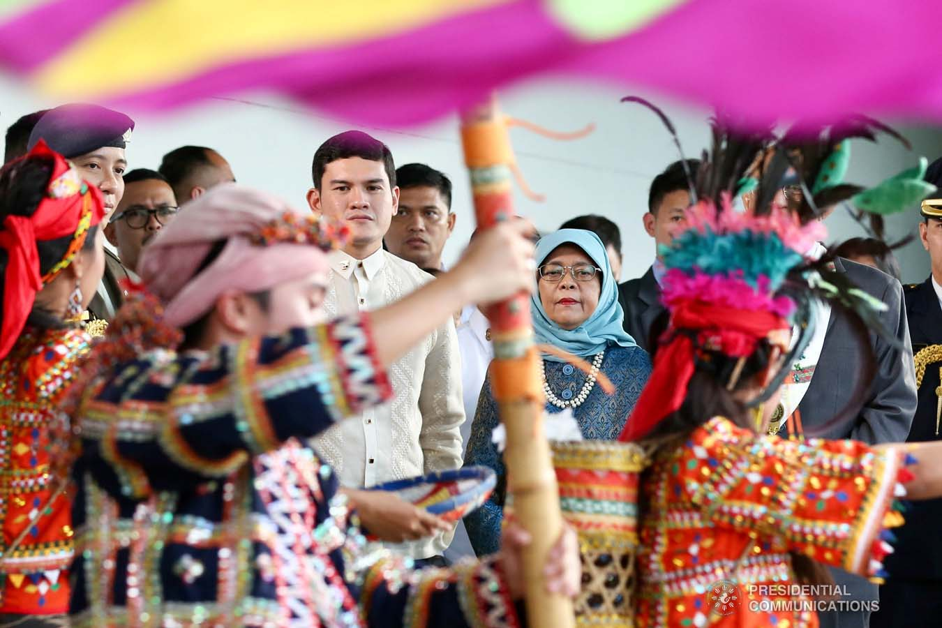 Republic of Singapore President Halimah Yacob is accompanied by Davao City Vice Mayor Sebastian Duterte as she is entertained by cultural performers upon her arrival at the Davao International Airport in Davao City on September 10, 2019. RICHARD MADELO/PRESIDENTIAL PHOTO