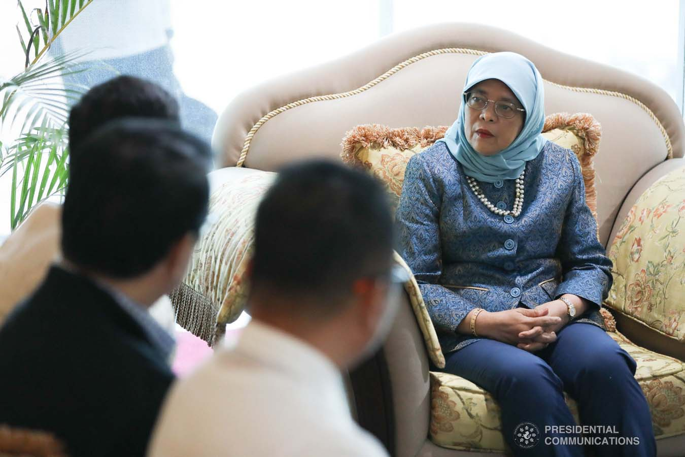 Republic of Singapore President Halimah Yacob discusses matters with Davao City Vice Mayor Sebastian Duterte during a meeting at the Davao International Airport on September 10, 2019. KARL NORMAN ALONZO/PRESIDENTIAL PHOTO