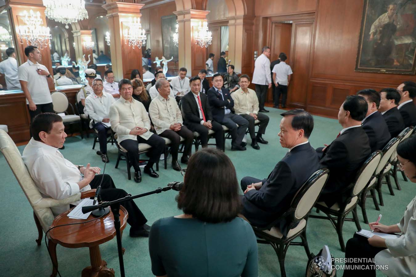 President Rodrigo Roa Duterte meets with the officials of the Communist Party of China (CPC) Chongqing Party led by its Chief Chen Min'er who paid a courtesy call on the President at the Malacañan Palace on September 16, 2019. ACE MORANDANTE/PRESIDENTIAL PHOTO