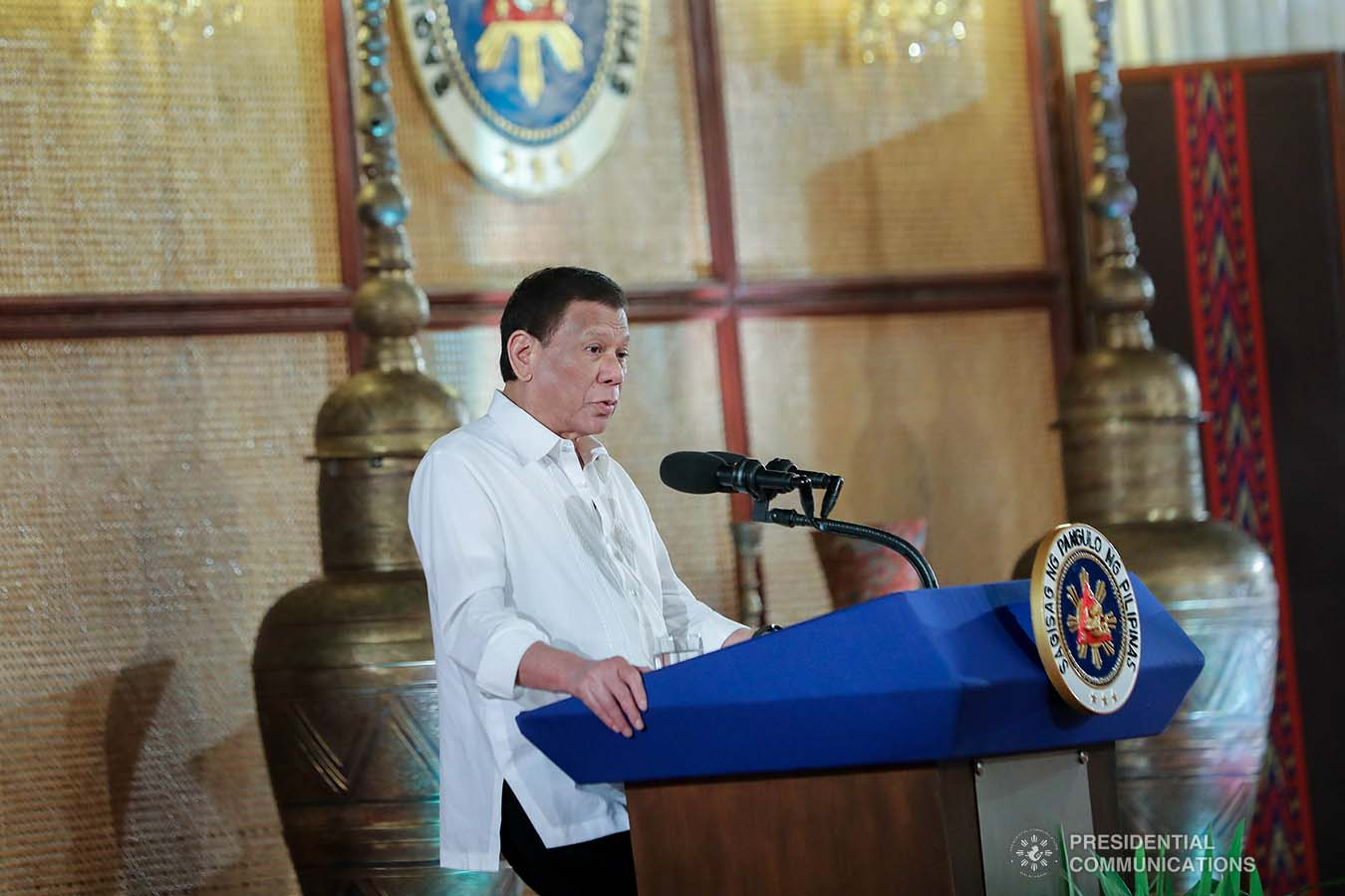 President Rodrigo Roa Duterte delivers his speech following the oath-taking ceremony of newly appointed officials at the Malacañan Palace on September 17, 2019. ALFRED FRIAS/PRESIDENTIAL PHOTO