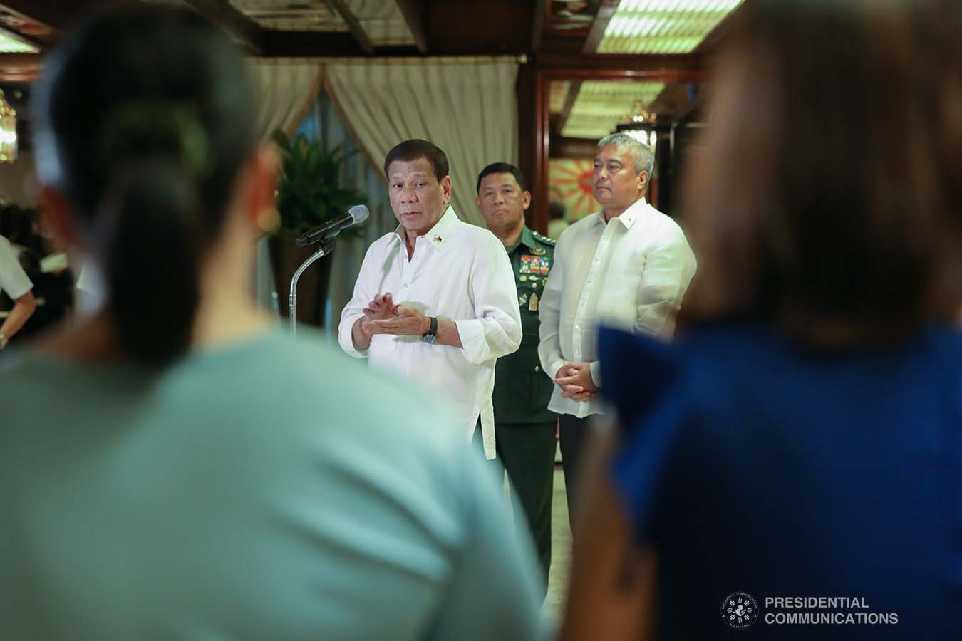 President Rodrigo Roa Duterte gives a message after posthumously awarding the Order of Lapu-Lapu Rank of Kalasag to the killed soldiers during a ceremony at the Malacañan Palace on September 17, 2019. TOTO LOZANO/PRESIDENTIAL PHOTO