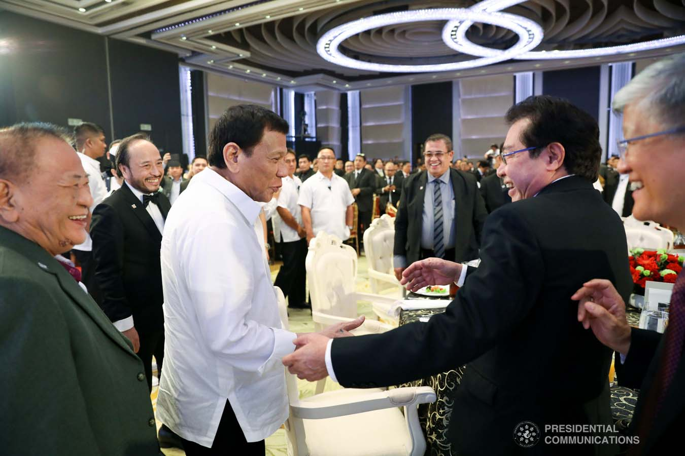 President Rodrigo Roa Duterte shares a light moment with the guests during the 50th Founding Anniversary Celebration of Lex Talionis Fraternitas Inc. at The Manila Hotel on September 25, 2019. ACE MORANDANTE/PRESIDENTIAL PHOTO