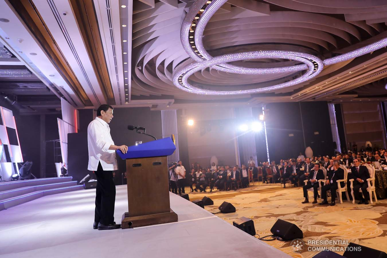 President Rodrigo Roa Duterte delivers his speech during the 50th Founding Anniversary Celebration of Lex Talionis Fraternitas Inc. at The Manila Hotel on September 25, 2019. ALFRED FRIAS/PRESIDENTIAL PHOTO