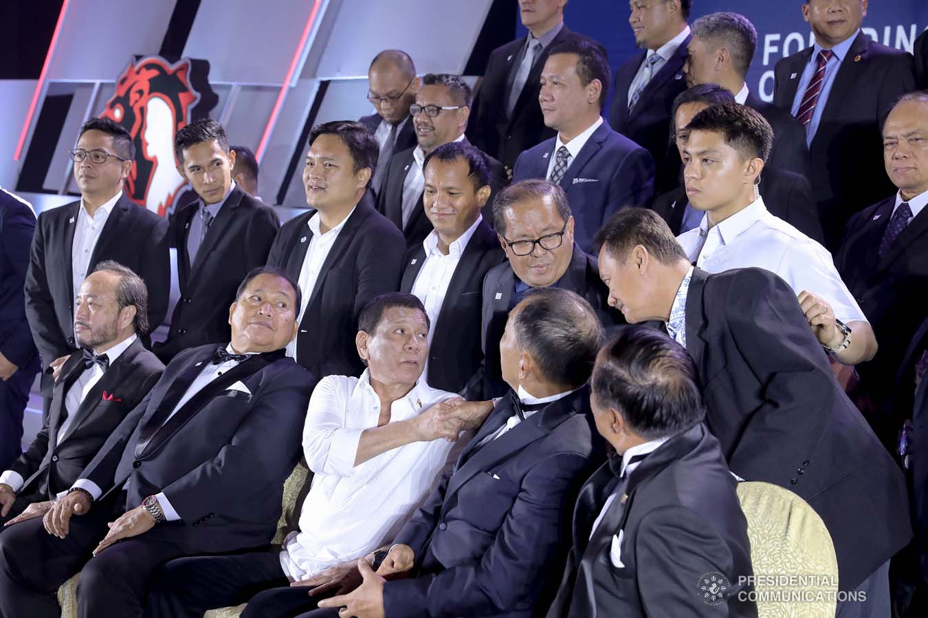 President Rodrigo Roa Duterte greets one of the members of the Lex Talionis Fraternitas Inc. as they celebrate their 50th anniversary at The Manila Hotel on September 25, 2019. ALFRED FRIAS/PRESIDENTIAL PHOTO