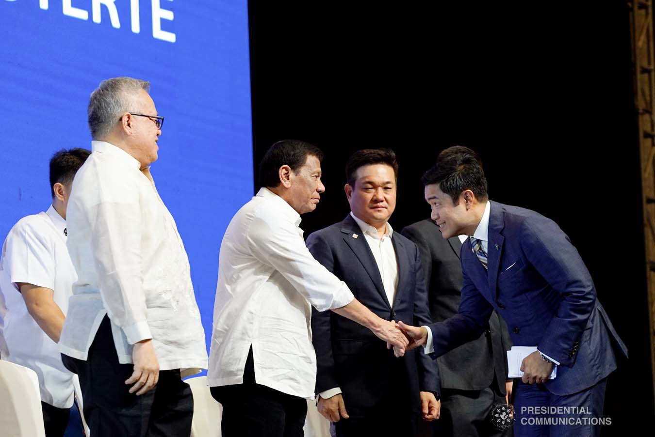 President Rodrigo Roa Duterte greets Golden Topper Group Inc. Philippines CEO Joseph Lombos during the Golden Topper Corporate Launch at the Aseana Business Park in Parañaque City on September 25, 2019. KING RODRIGUEZ/PRESIDENTIAL PHOTO