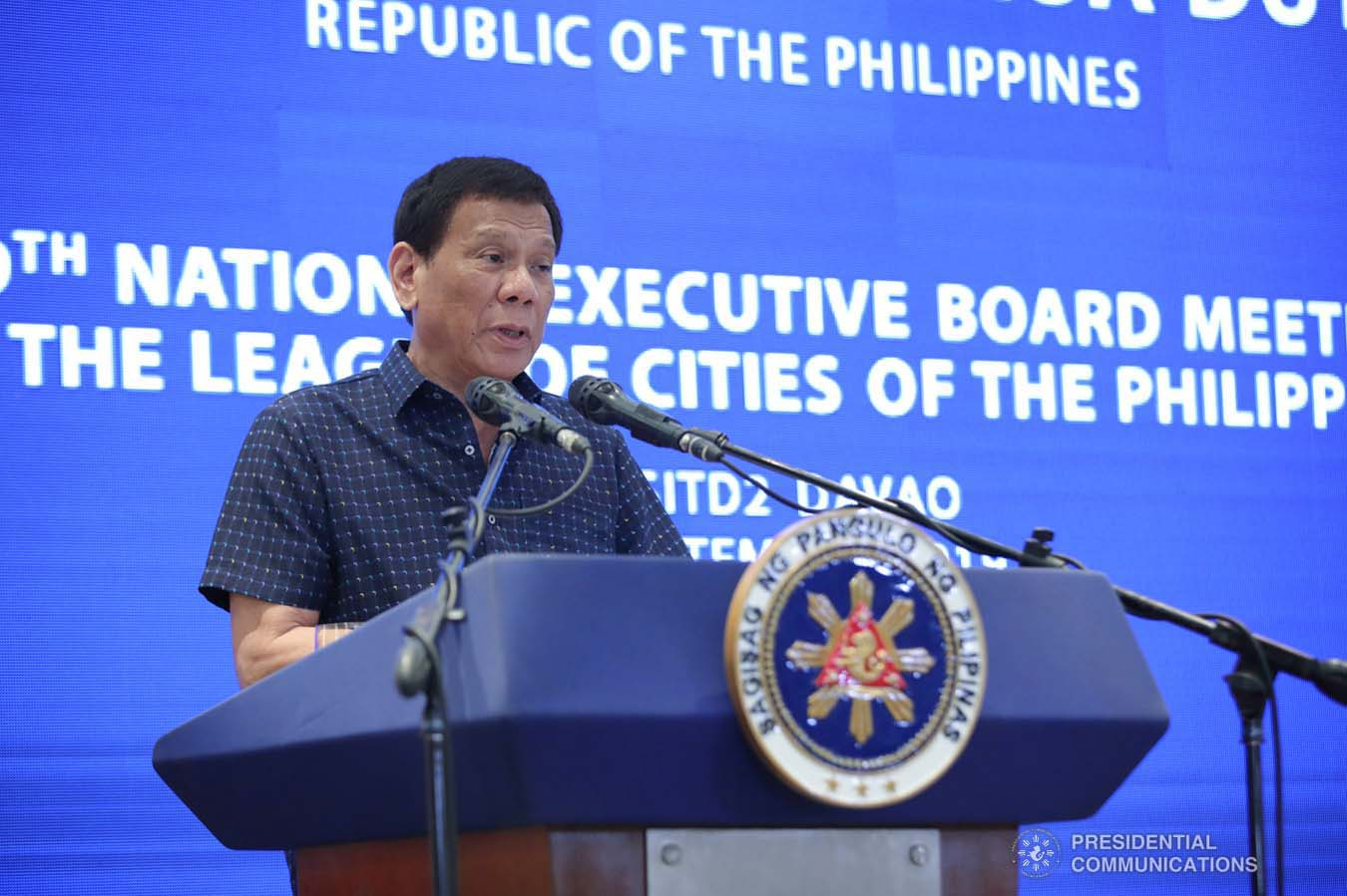 President Rodrigo Roa Duterte delivers his speech during the 69th National Executive Board Meeting of the League of Cities of the Philippines at the DusitD2 Davao Hotel in Davao City on September 27, 2019. ROBINSON NIÑAL JR./PRESIDENTIAL PHOTO