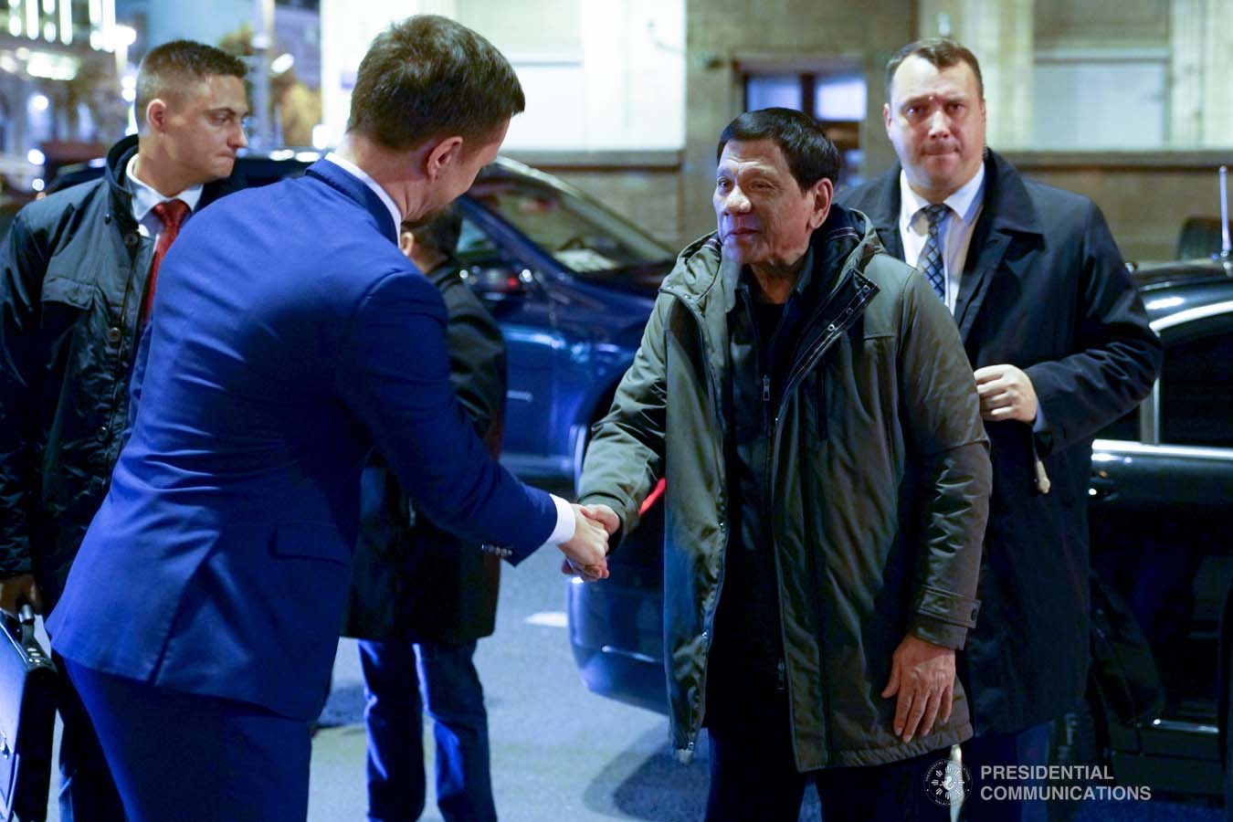 President Rodrigo Roa Duterte greets a member of the reception party upon his arrival at a hotel in Moscow, Russian Federation on October 2, 2019. JOEY DALUMPINES/PRESIDENTIAL PHOTO